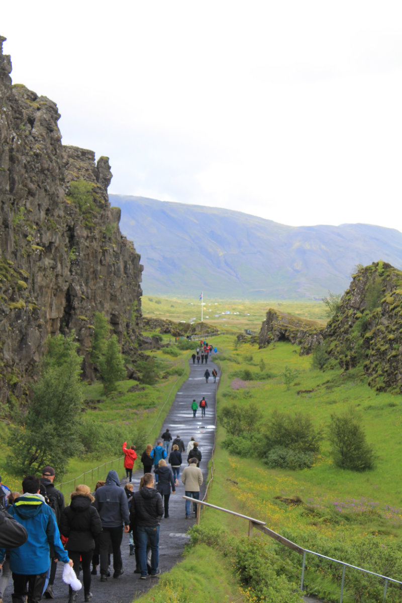 Almannagjá gorge at Þingvellir. Fans of Game of Thrones may recognise this view.