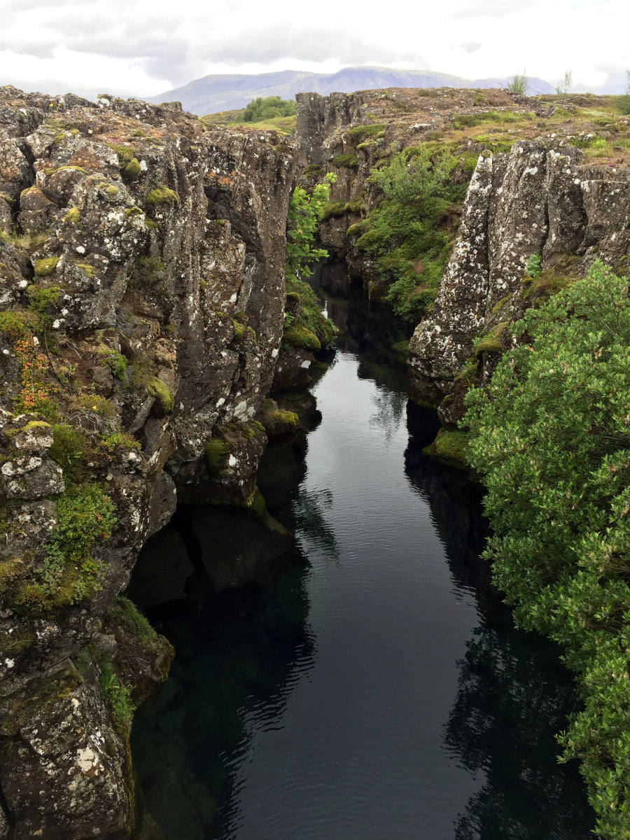 A fissure near Silfra. On the left is North America, on the right is Eurasia.