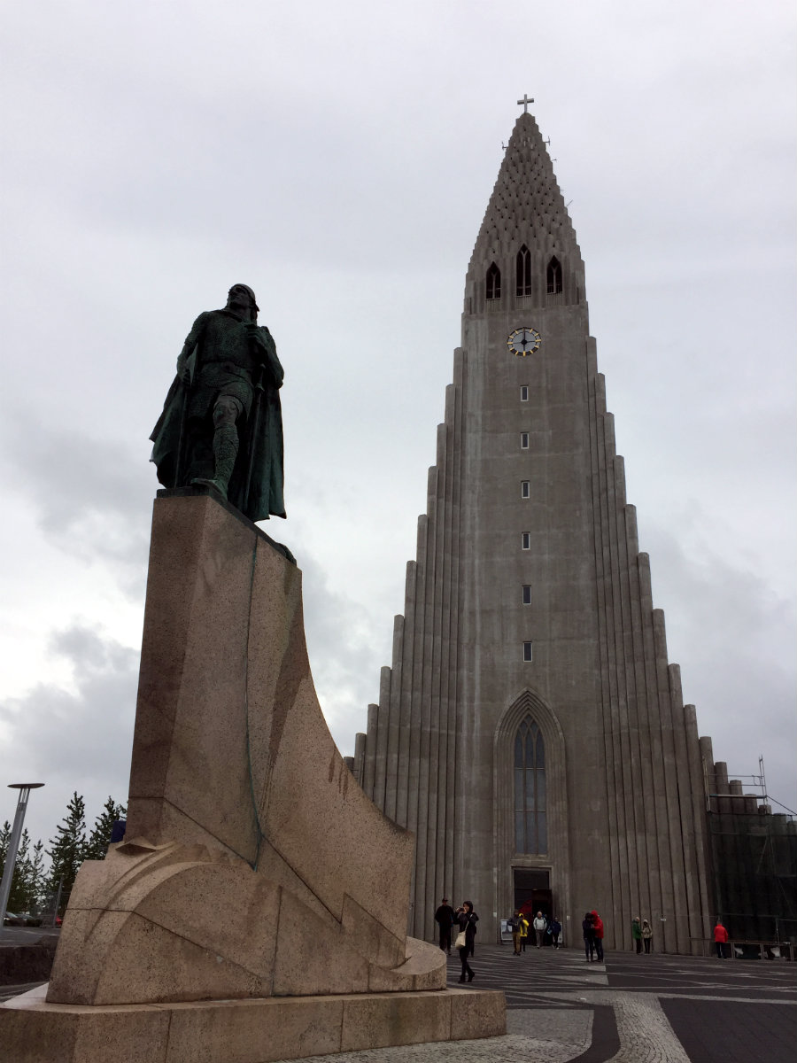 The statue is Lief Erikson, the first European to have discovered continental North America.