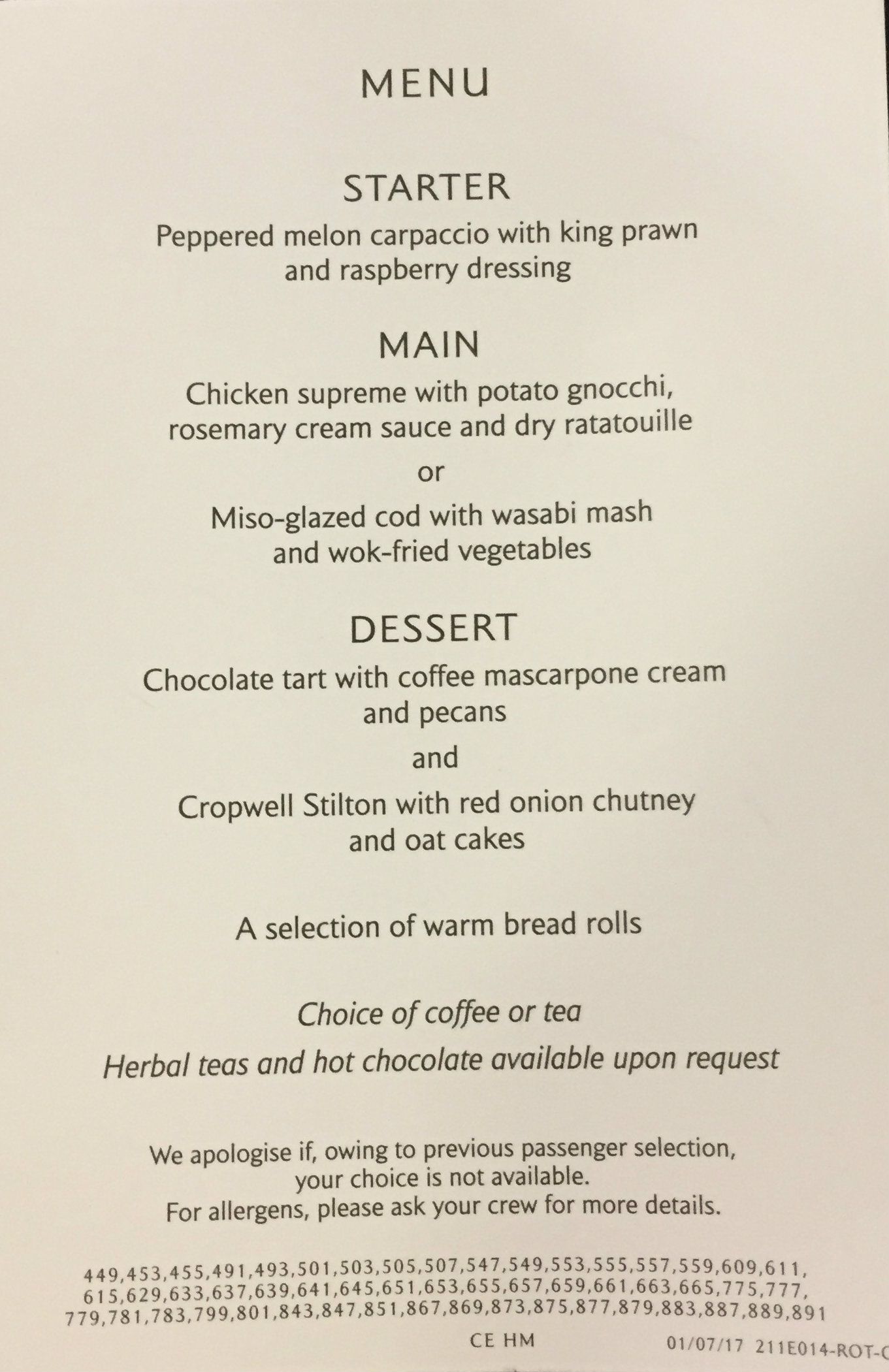 The lunch menu on BA801.