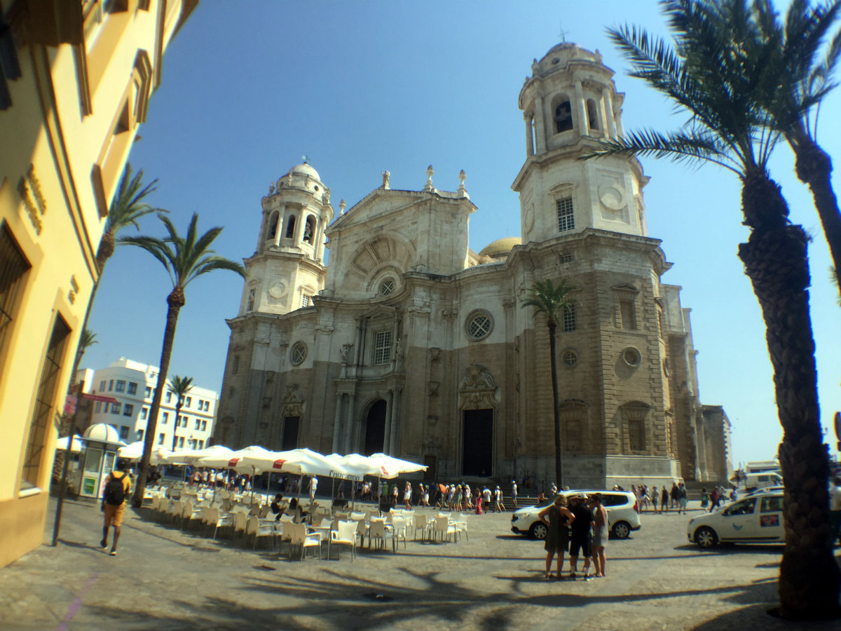 Cadiz Cathedral. The towers were added later, hence the different stone.