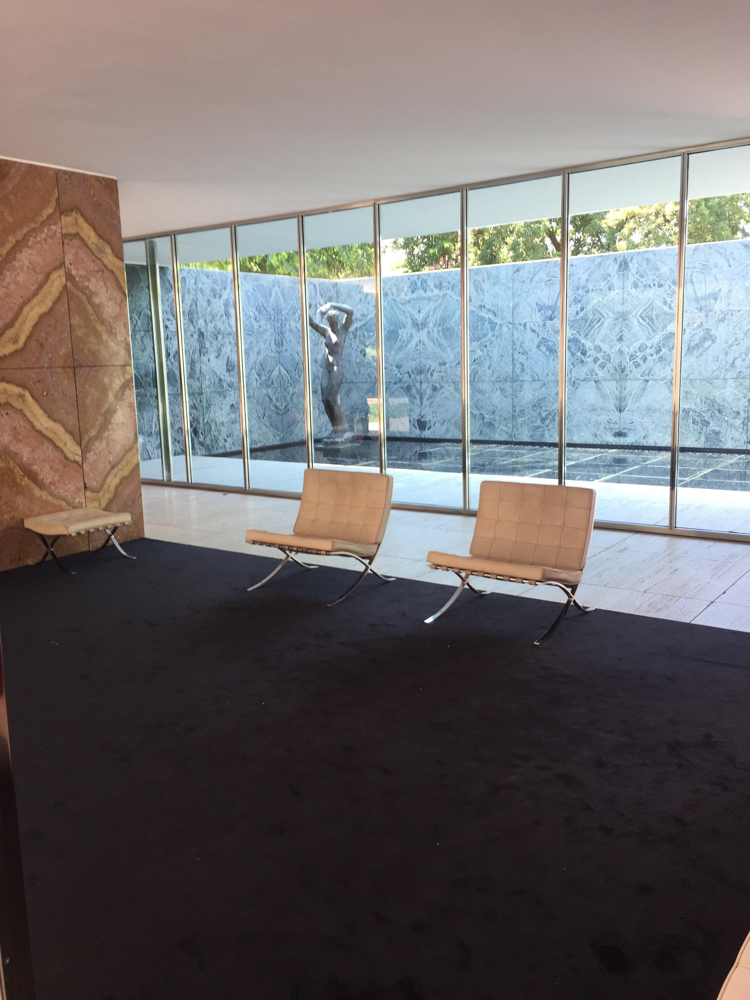 The Barcelona chair... in the Barcelona Pavilion... in Barcelona, Spain