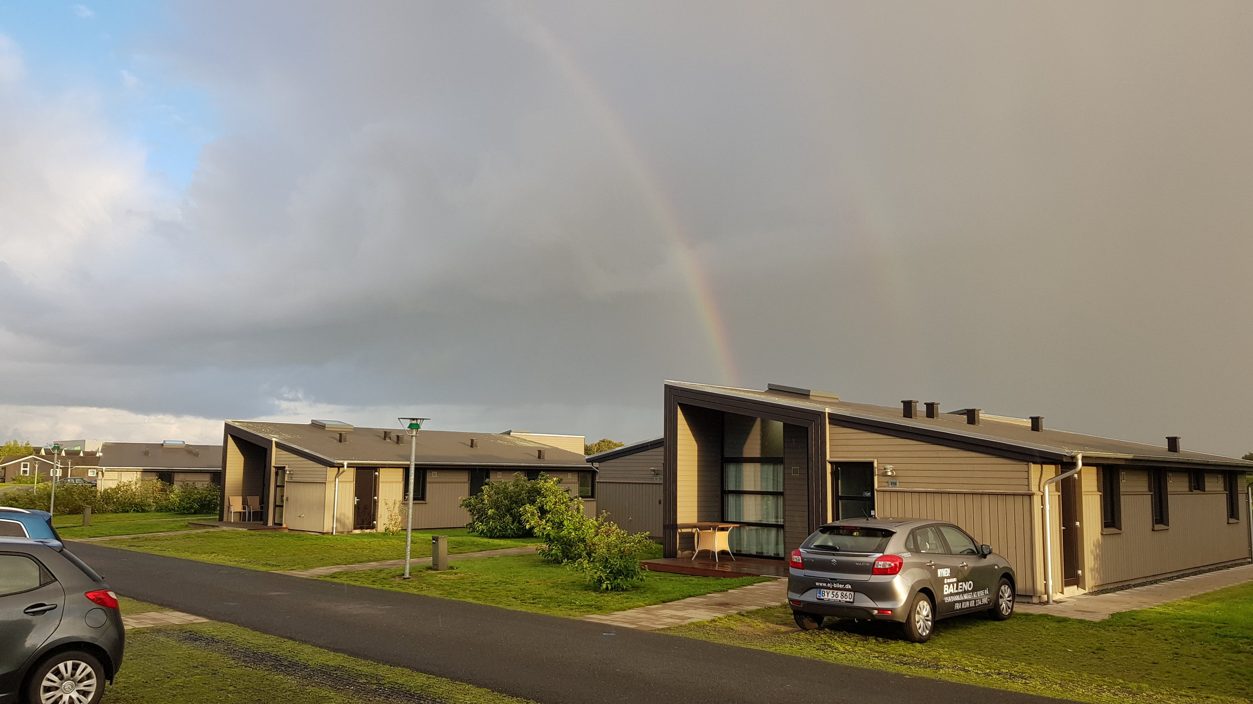 Denmark is a land of rainbows.  Our holiday cottage was like this building