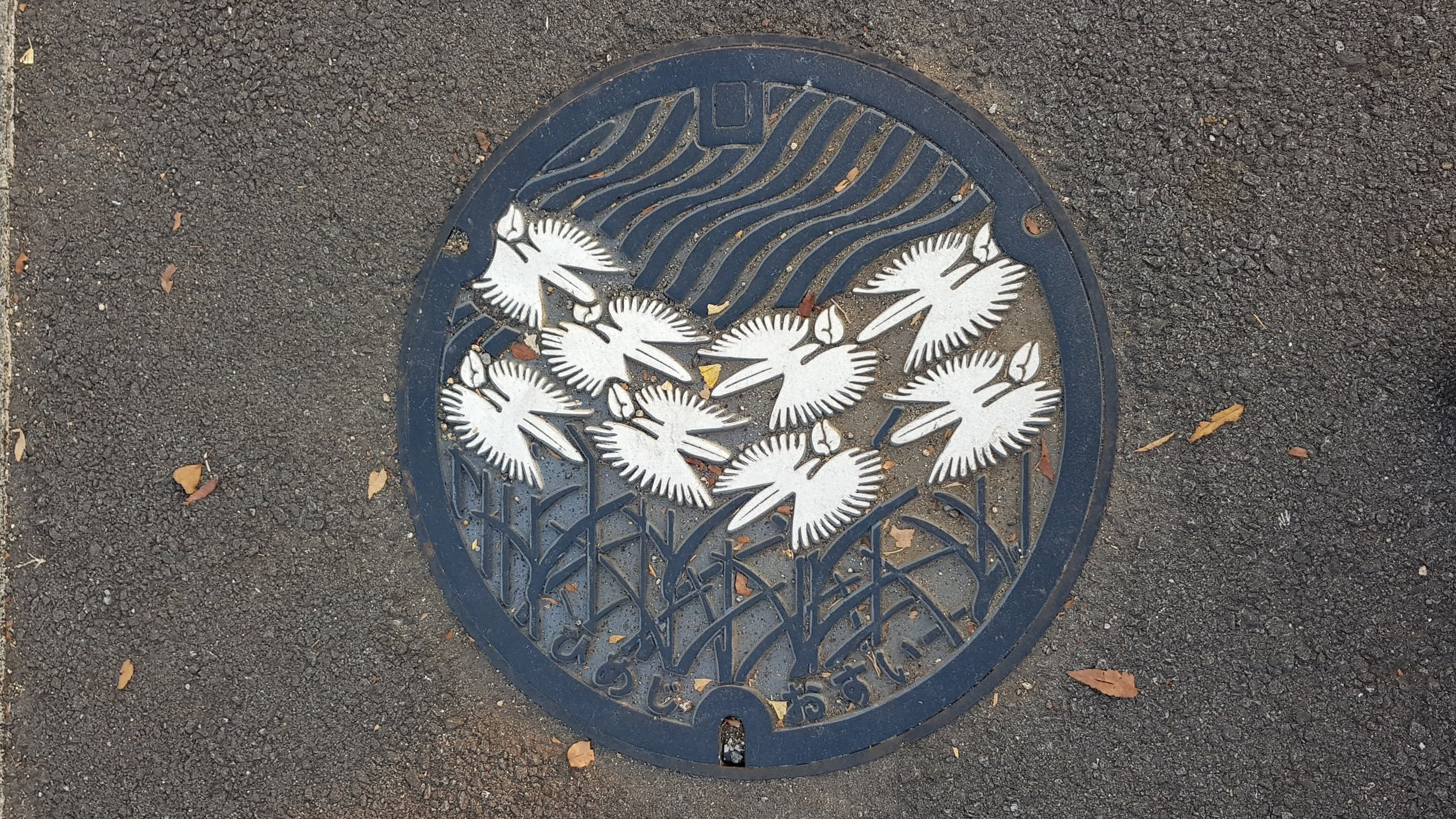 Even the man hole covers have the white heron emblem