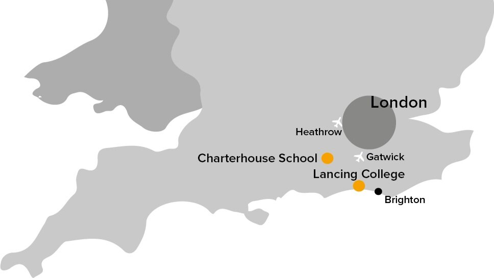 UK map showing charterhouse school and lancing college in relation to London