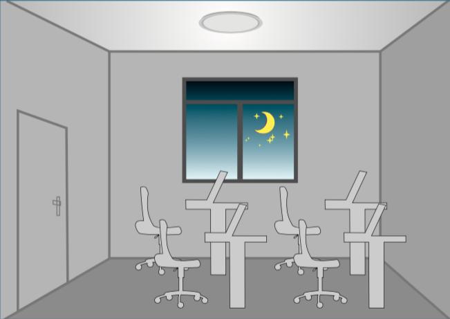 Al no detectar movimiento, las luces se apagan.