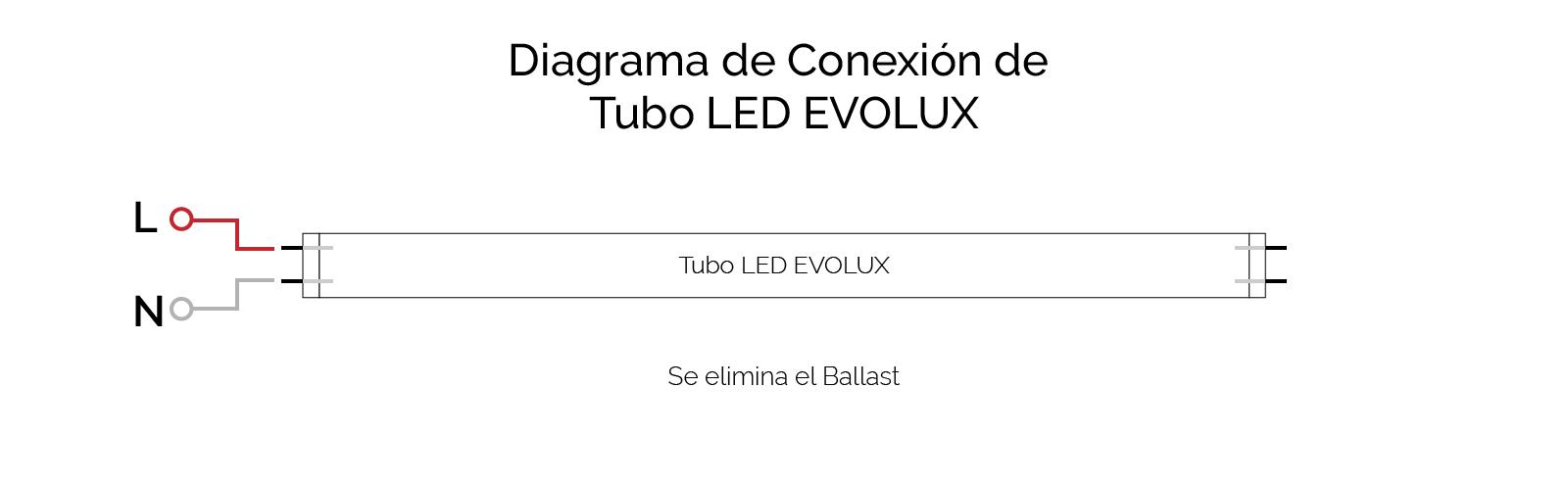 Conexión Tubo LED EVOLUX