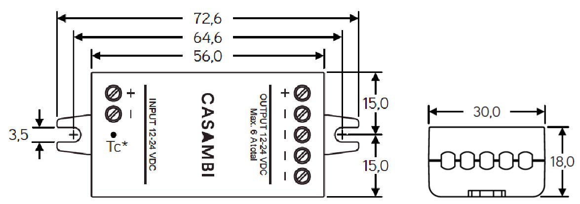 Dimensiones CBU-PWM4 Bluetooth