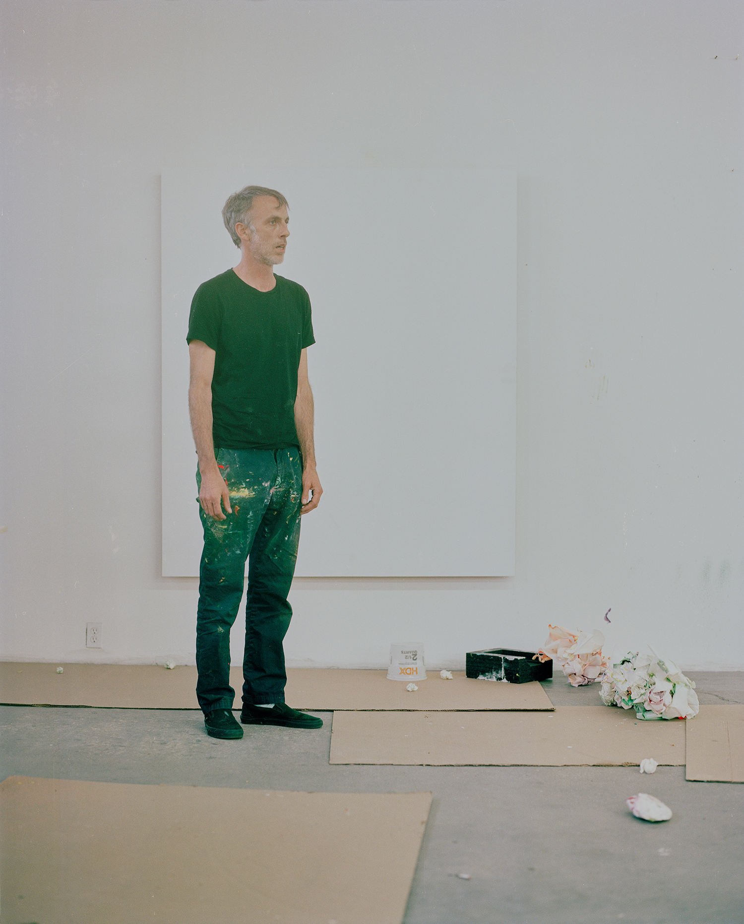 Painter Jules De Balincourt in his Los Angeles studio for Harper's Bazaar Art.