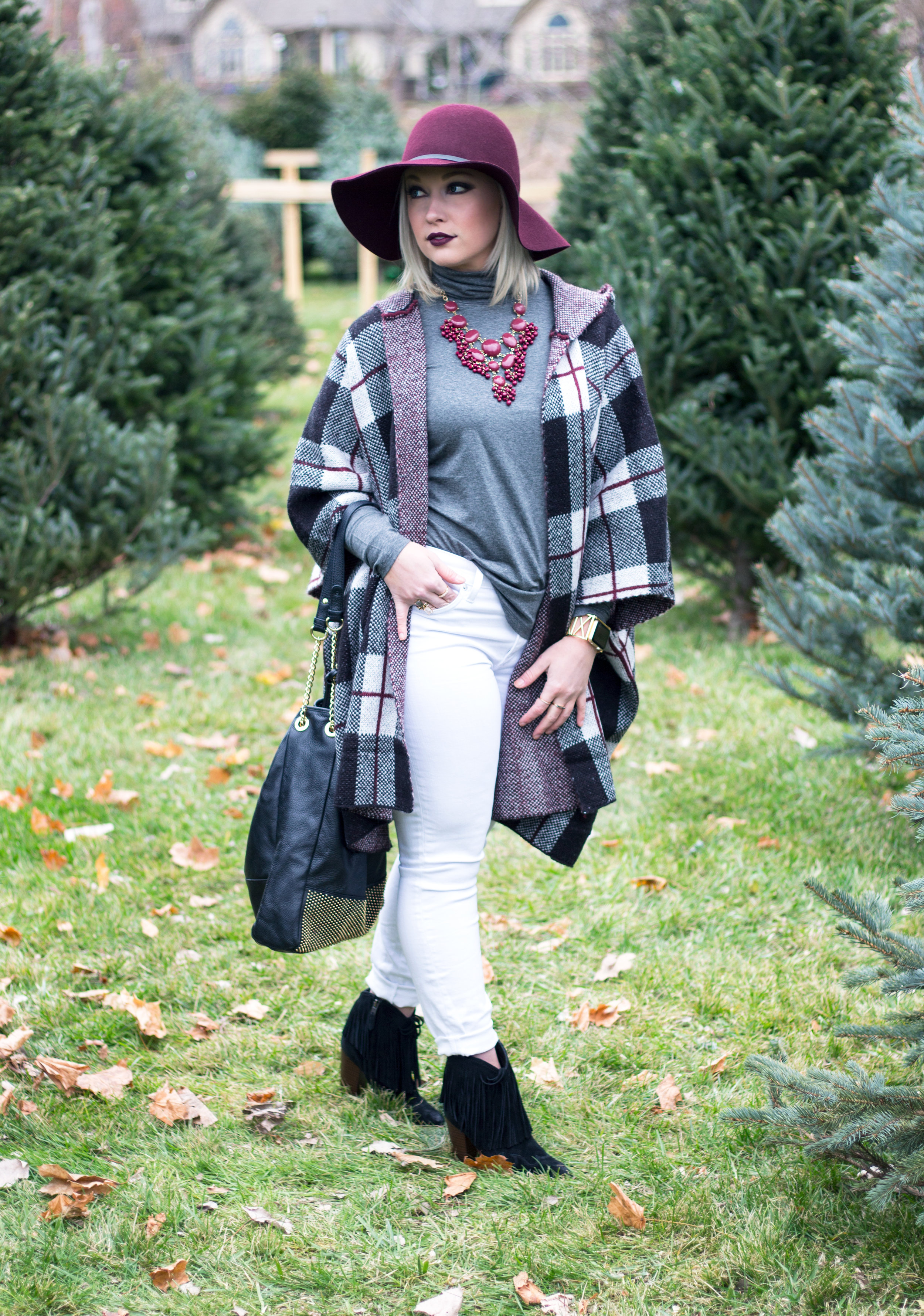Emily Essentially | Fashion | Plaid Poncho: How To Do Winter White Right 2