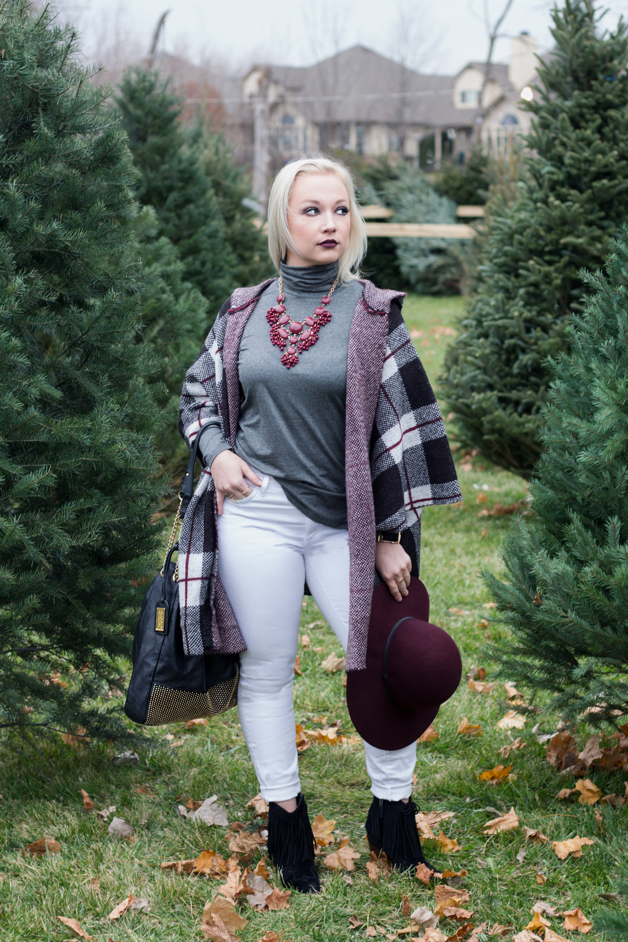 Emily Essentially | Fashion | Plaid Poncho: How To Do Winter White Right 1