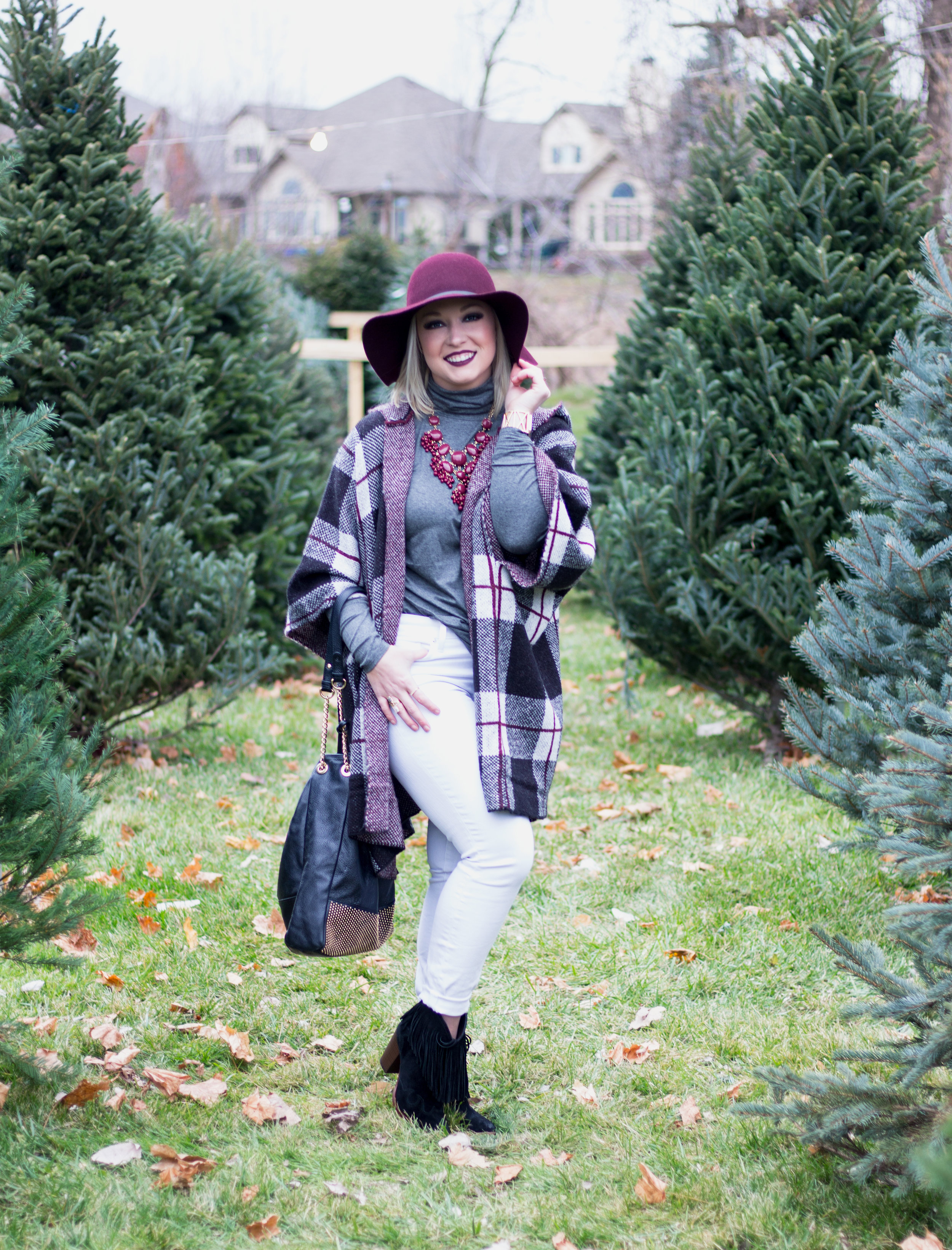 Emily Essentially | Fashion | Plaid Poncho: How To Do Winter White Right 8