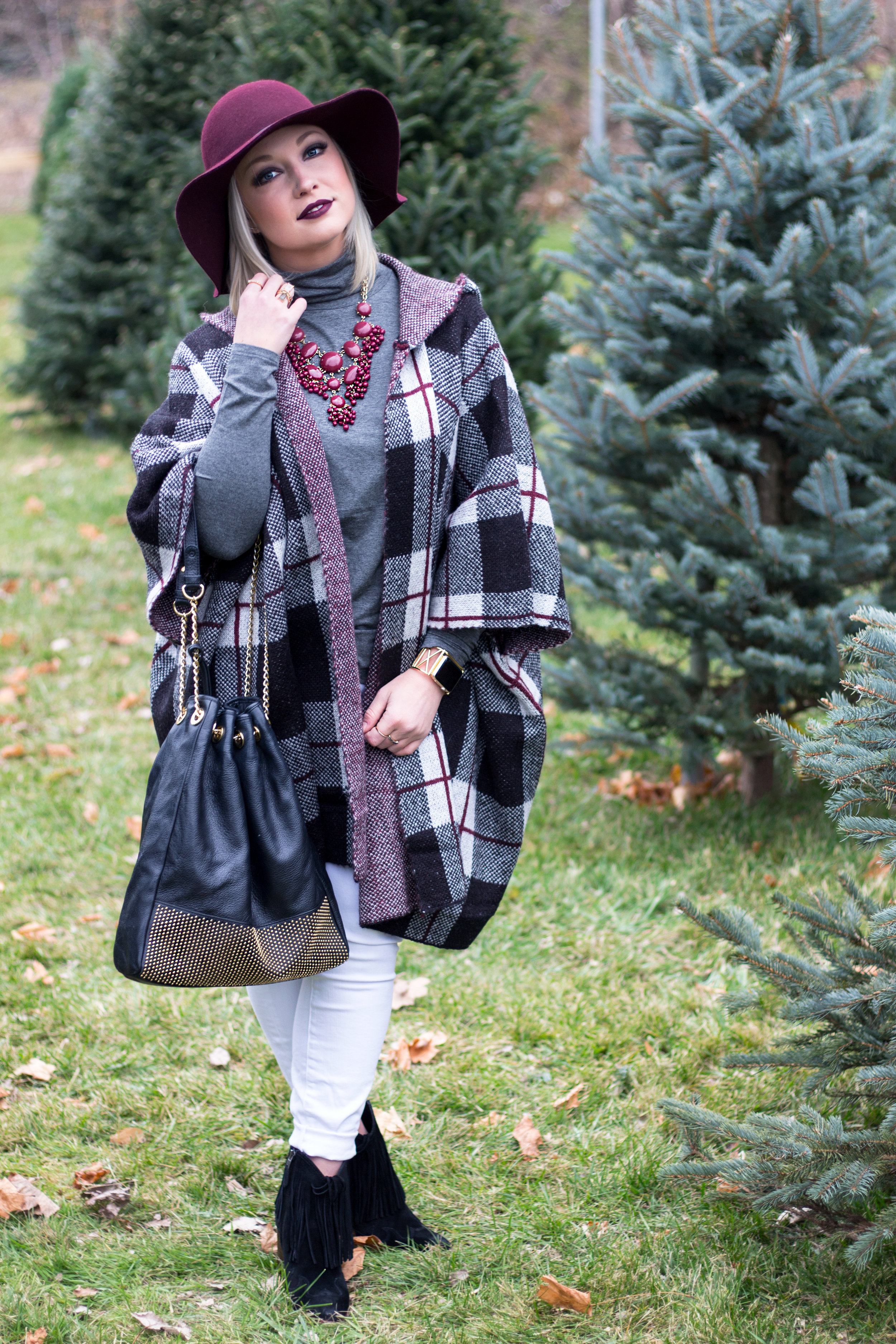 Emily Essentially | Fashion | Plaid Poncho: How To Do Winter White Right 7