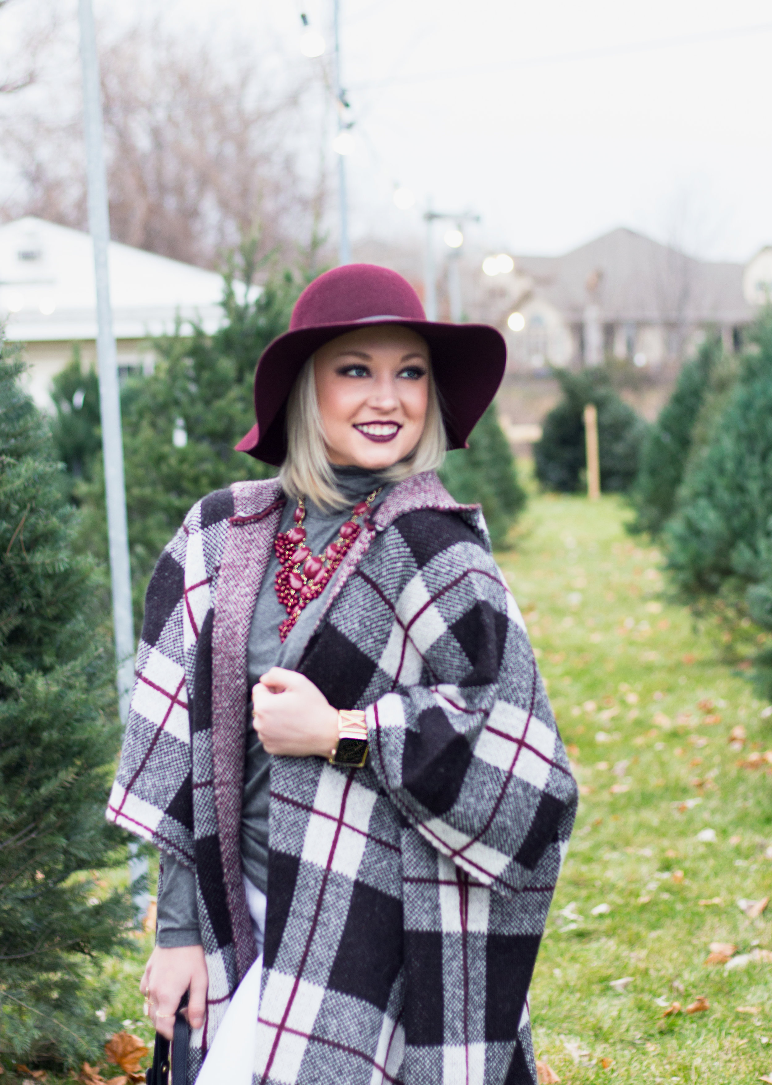 Emily Essentially | Fashion | Plaid Poncho: How To Do Winter White Right 9