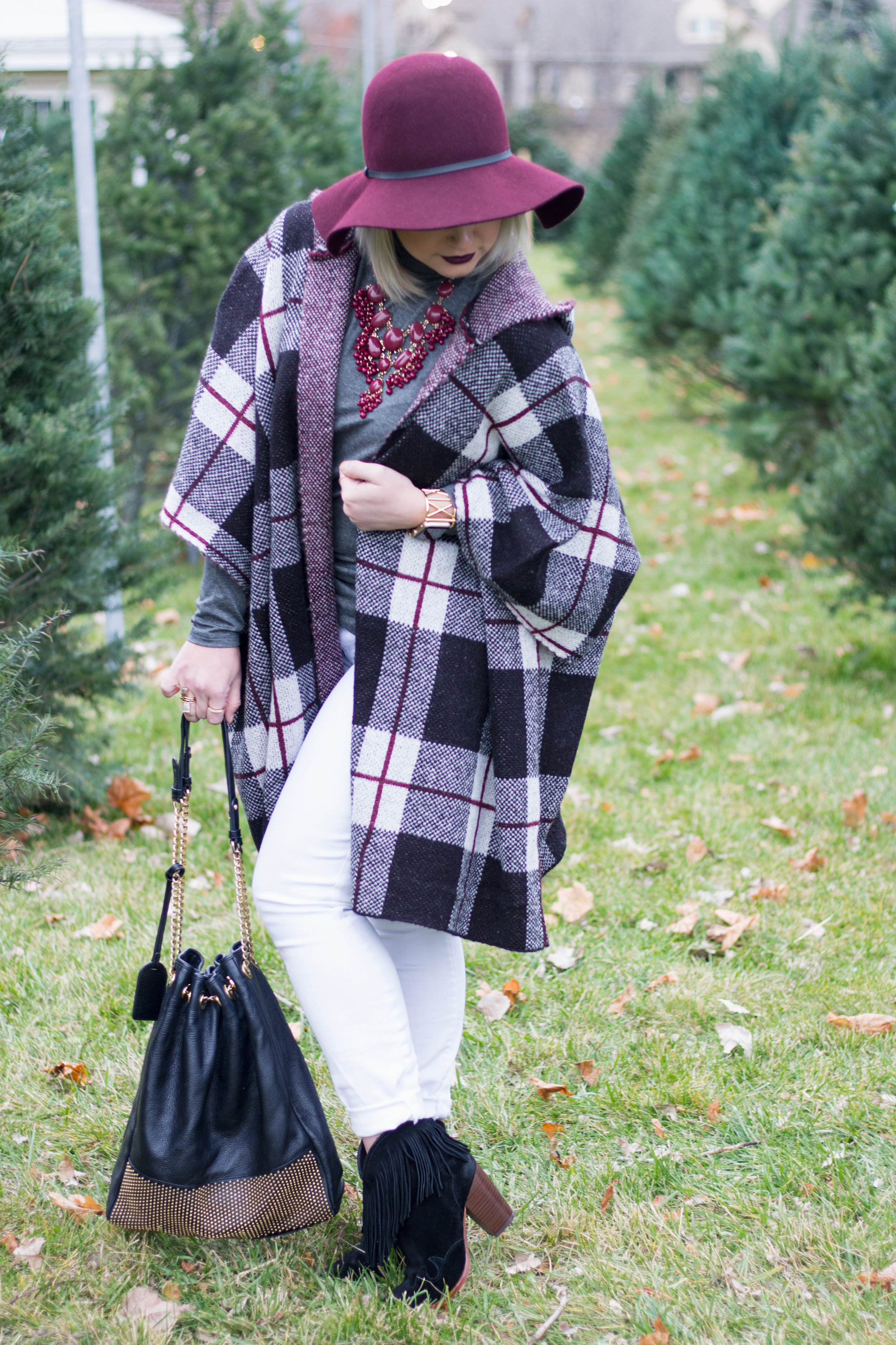 Emily Essentially | Fashion | Plaid Poncho: How To Do Winter White Right 11