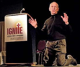 Danny Abramowicz kneeling during his talk