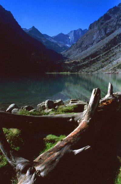The Armchair Mountaineer at Lac de Gaube, Pyrenees.