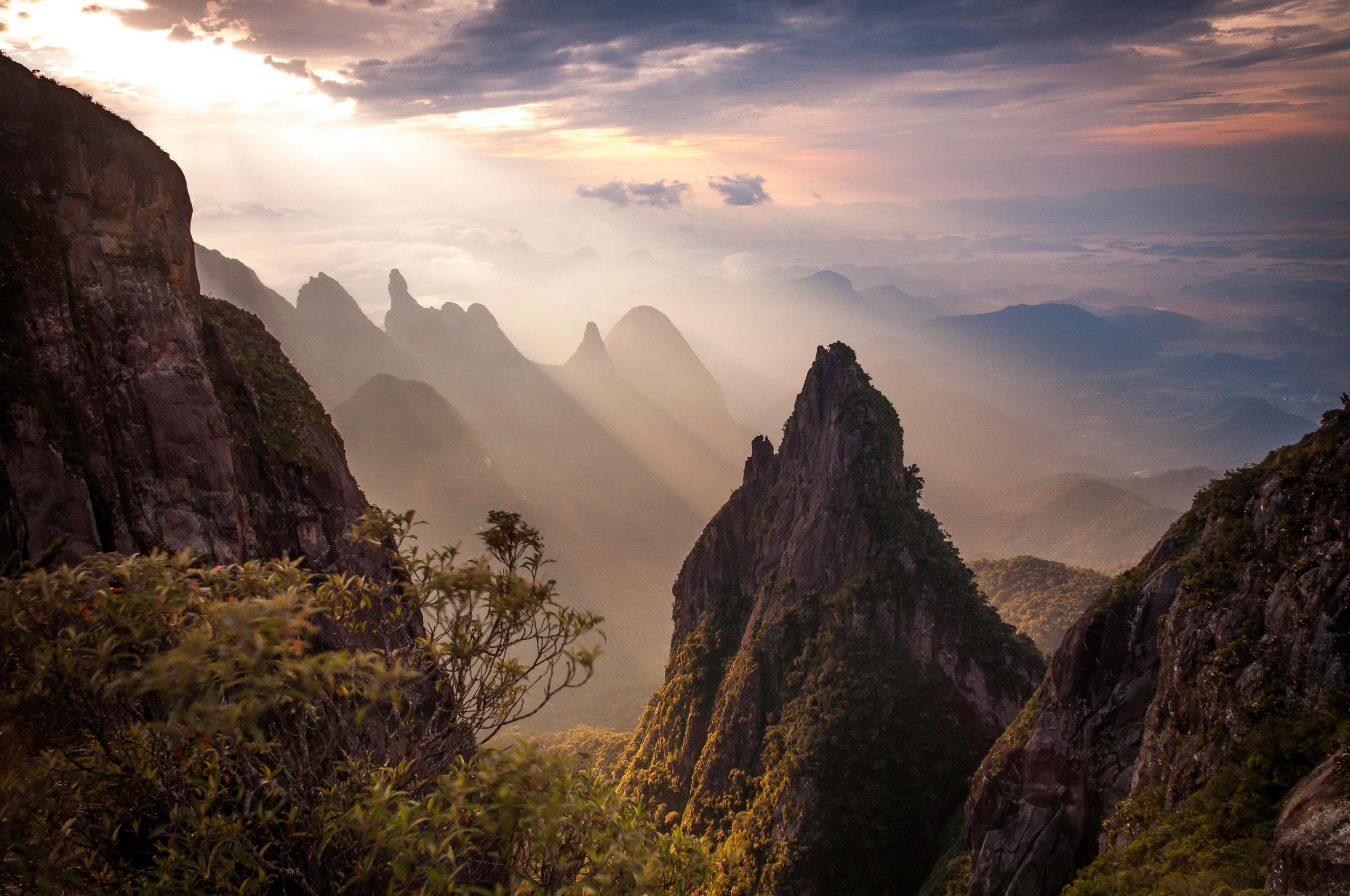 Serra dos Órgãos National Park with God's Finger peak in the background.