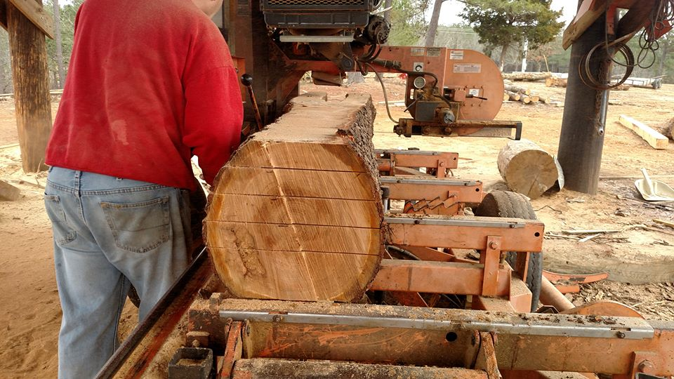 The cherry logs were taken to a sawyer to mill at 10/4 thickness. They were then carefully stacked with stickers between them to allow for adequate air circulation as they air dry for approximately 2 years. The smaller cherry logs were bucked into firewood and donated to Lamar Lounge, a whole hog pit BBQ restaurant in Oxford, Mississippi.