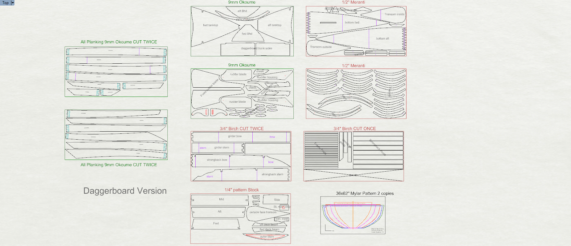 DSD sheet layout for the plywood kit (daggerboard version)