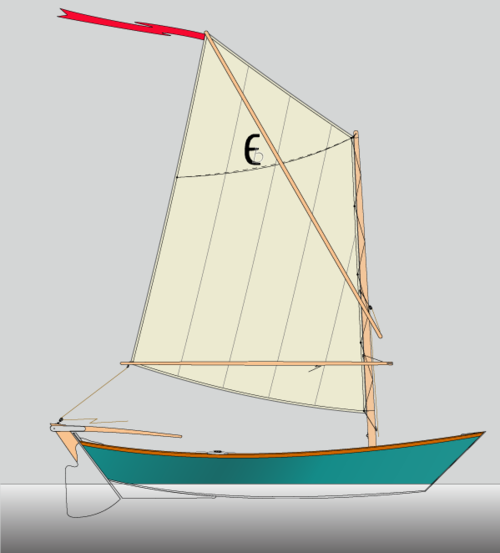 Echo Bay Dory Skiff spritsail rig. Lug rig also available.