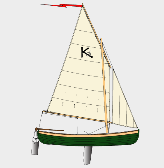 The KDI has this lug-sloop rig or a large balance lugsail alone.