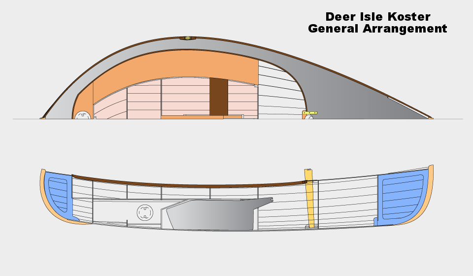 KDI general arrangement showing centerboard trunk, decking, and side seating.