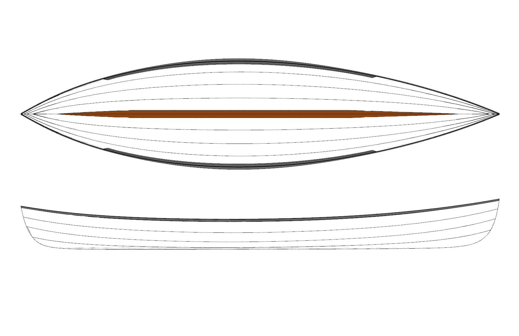 DRB HULL PLAN & PROFILE   The plan view shape shows the designed fine entry and fullness aft which allows for the greater speeds in race conditions. The brown strip is a inner keel. The gray gunwales show the wide outer rails which put the oarlocks further outboard.
