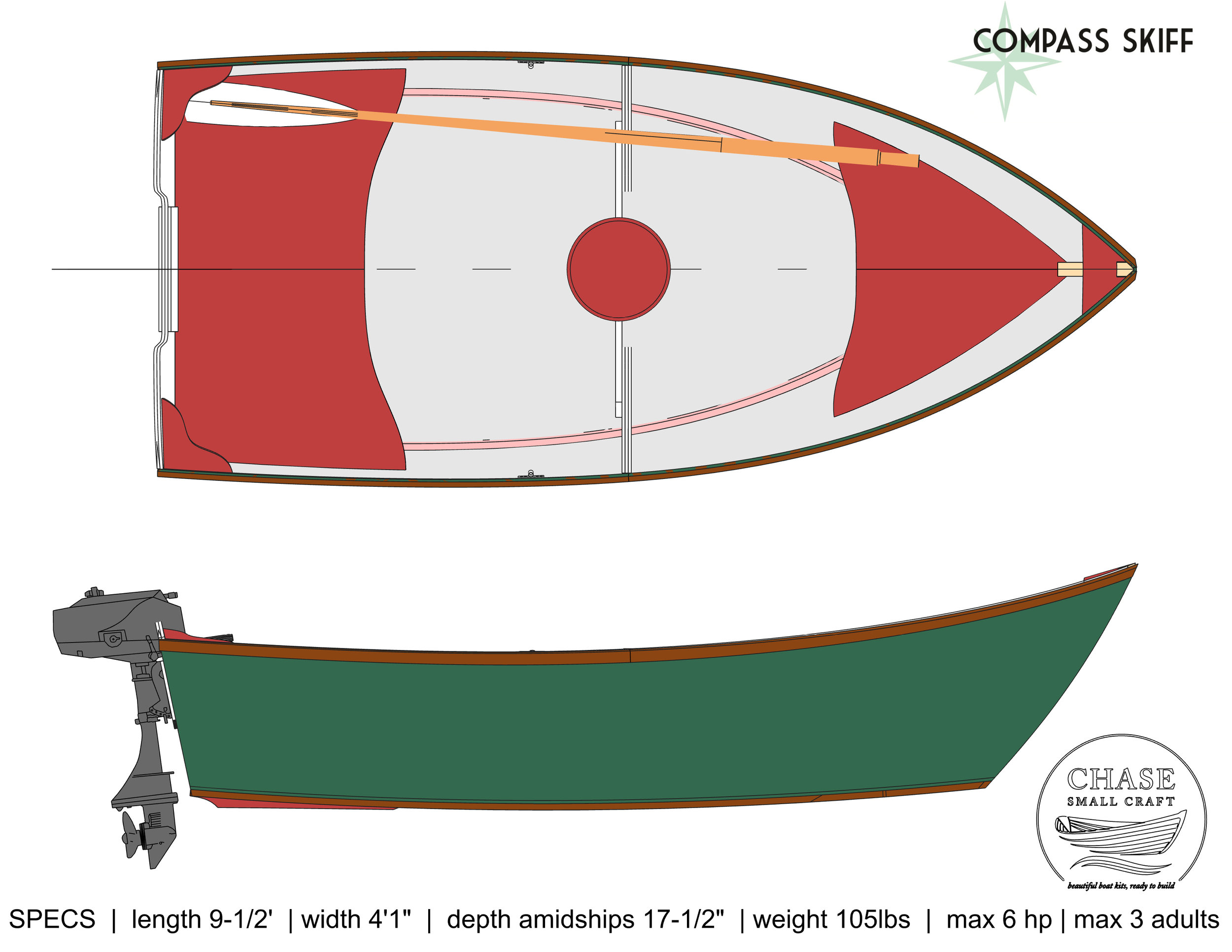 The 10' Compass Skiff general arrangement. There is room in back for a 3-gal tank.