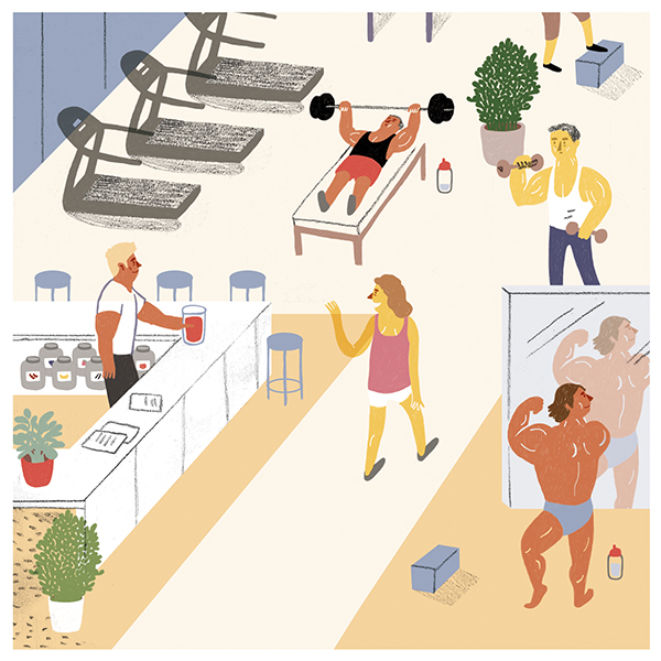 """Leben um zu pumpen  - Text from Pablo Haller  """"Die Muckibude ist der Tempel des gestählten Körpers. Muckis, Muckis. Heyhey, ciaociao! Er sieht, sie sieht ihn. Saft, Saft gibt mir Saft. Die alten Griechen haben ja schon. Sparta, ja. Sparta! Muckis, Muckis. Proteine, Steroide, Muckifuk. Rauf & runter, eins & zwei & drei & eins. Trip & trap & auf & ab. Muckis zu Muckis, Saft zu Saft. Eins & zwei & drei & eins. Martin pumpt. Im orangen Schlüpfer. Muckibude! Da musste hin ... wennte was werden willst. Wennte die Weiber willst. Wennte willst, dass sie dich wollen, die Weiber. Workin, workout. Mein Körper ist mein Tempel. Martin ölt seine Muckis ein. Muckis, Muckis. Sie glänzen so schön im grellen Licht, das jedes von ihnen akribisch erfasst. Ein Buchhalter des Erfolgs. Ein gestrenger Dompteur der Leistung. Erfolg durch Leiden, Leiden zum Erfolg. Beiss durch....."""""""