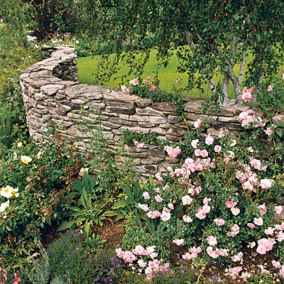 A Stone Wall Idea From Better Homes & Gardens.