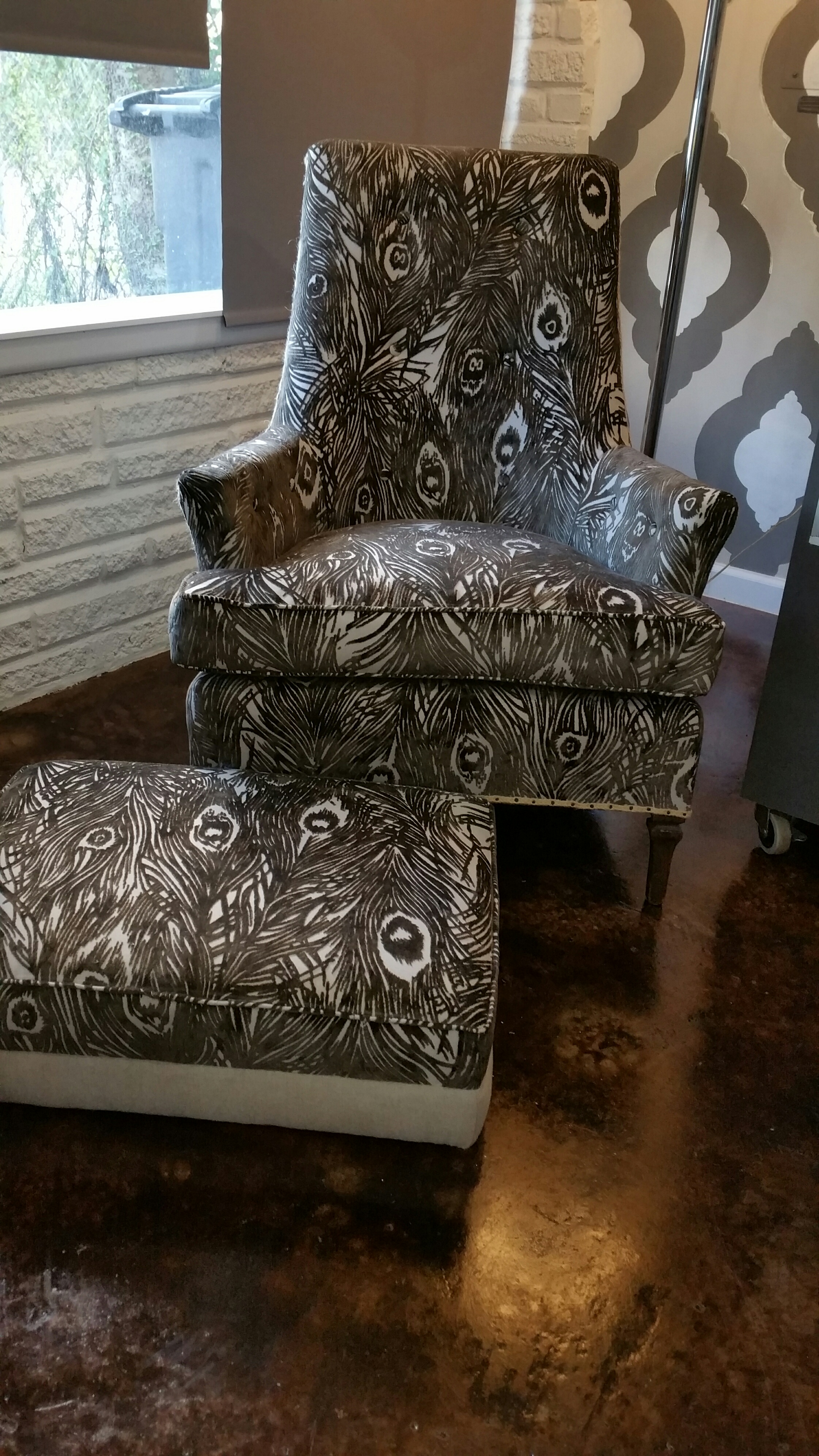 Grey Peacock Cut Velvet Mid Century Chair and Ottoman with Linen Back and Burlap Trim- $785 for the set