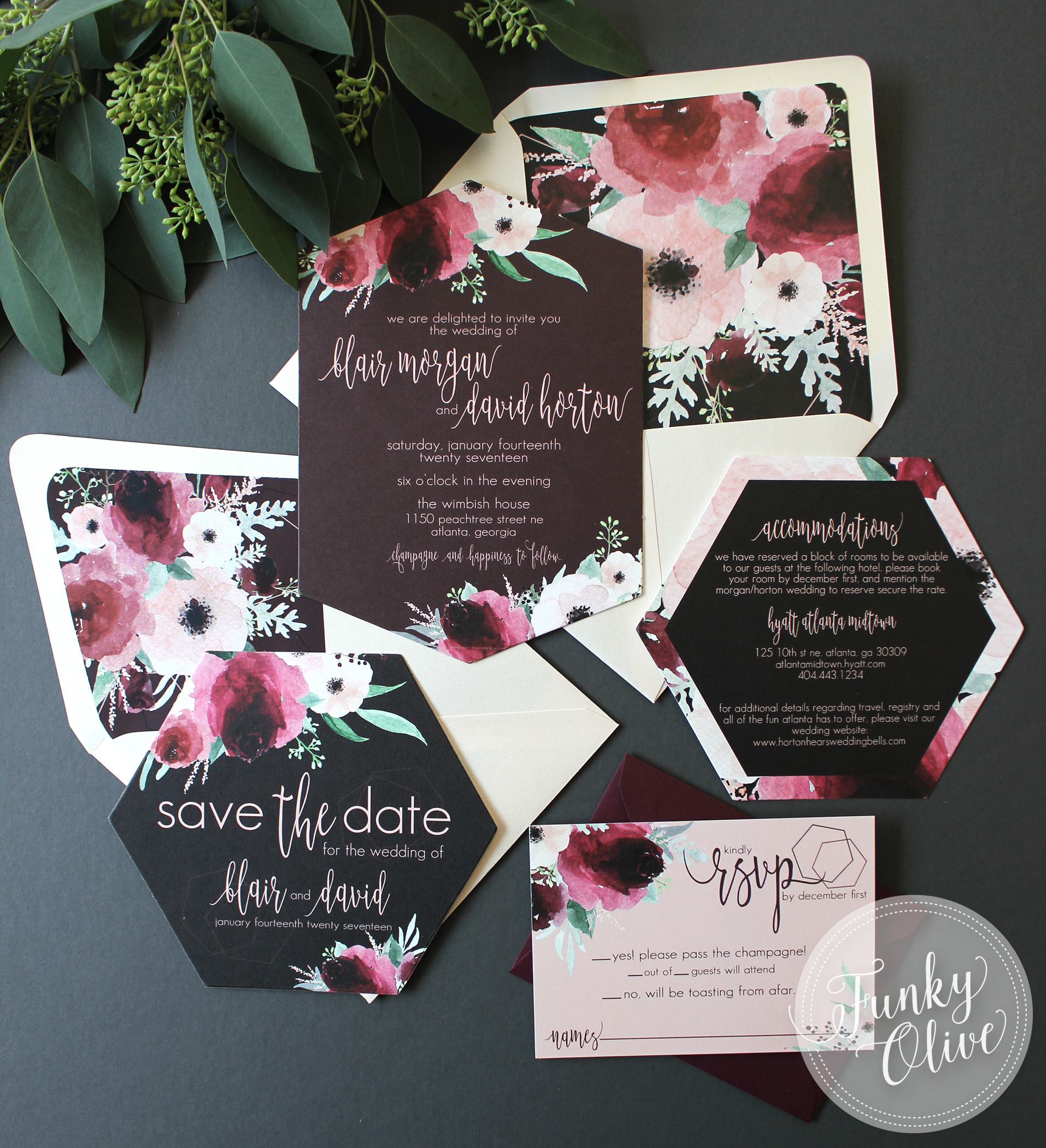 Burgundy & Blush Geometric Invitation Suite
