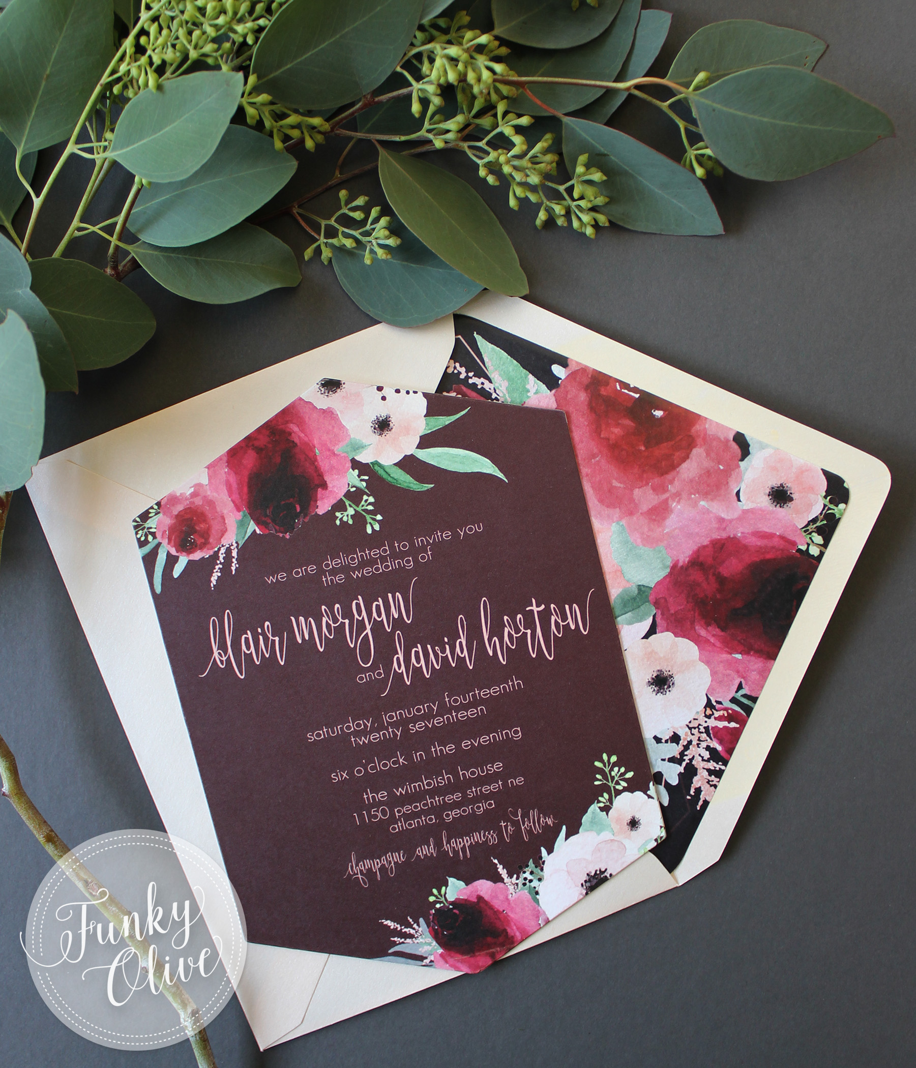 Cranberry & Blush Floral Invitation
