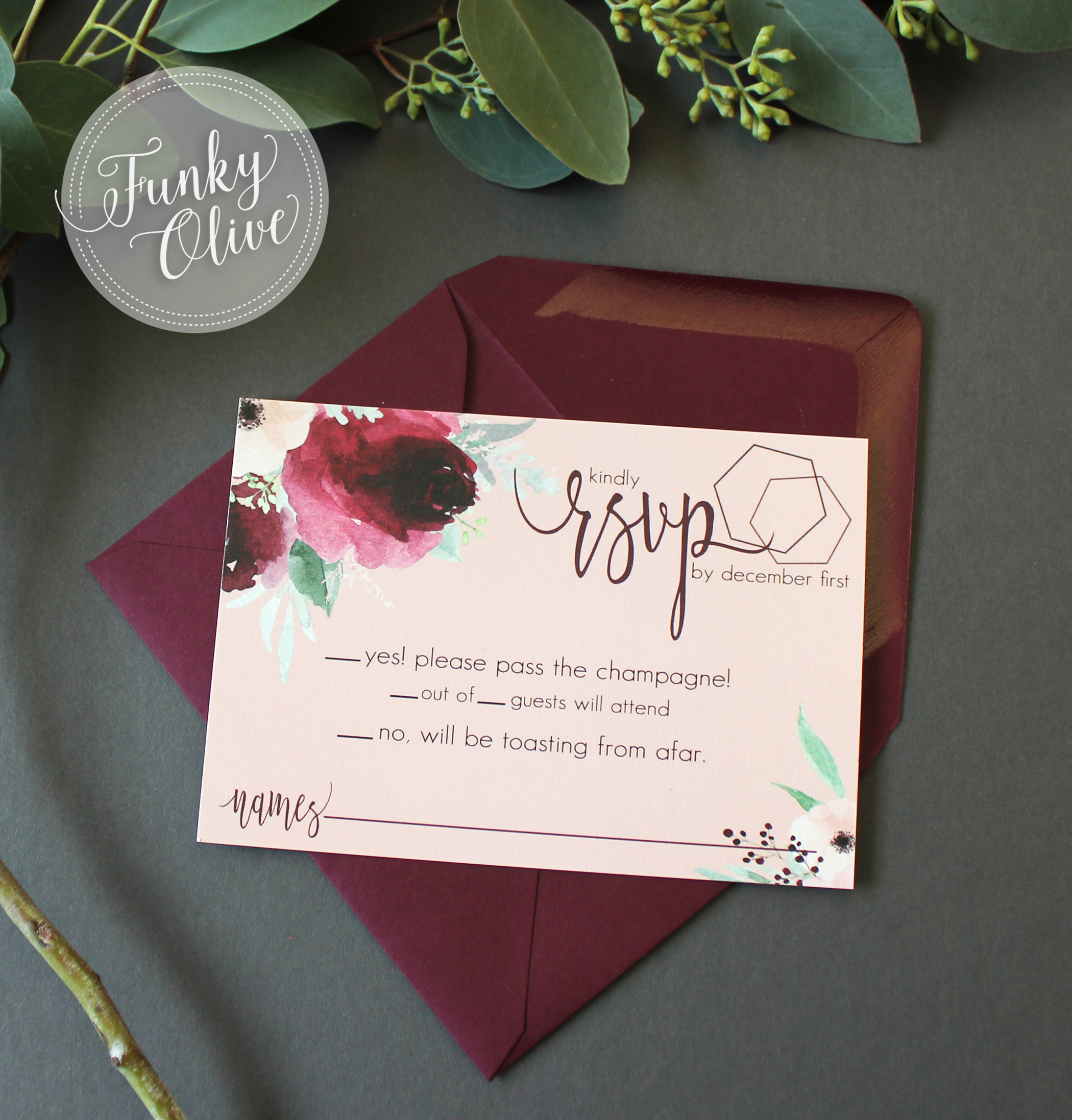 Boho Burgundy & Blush Response Card