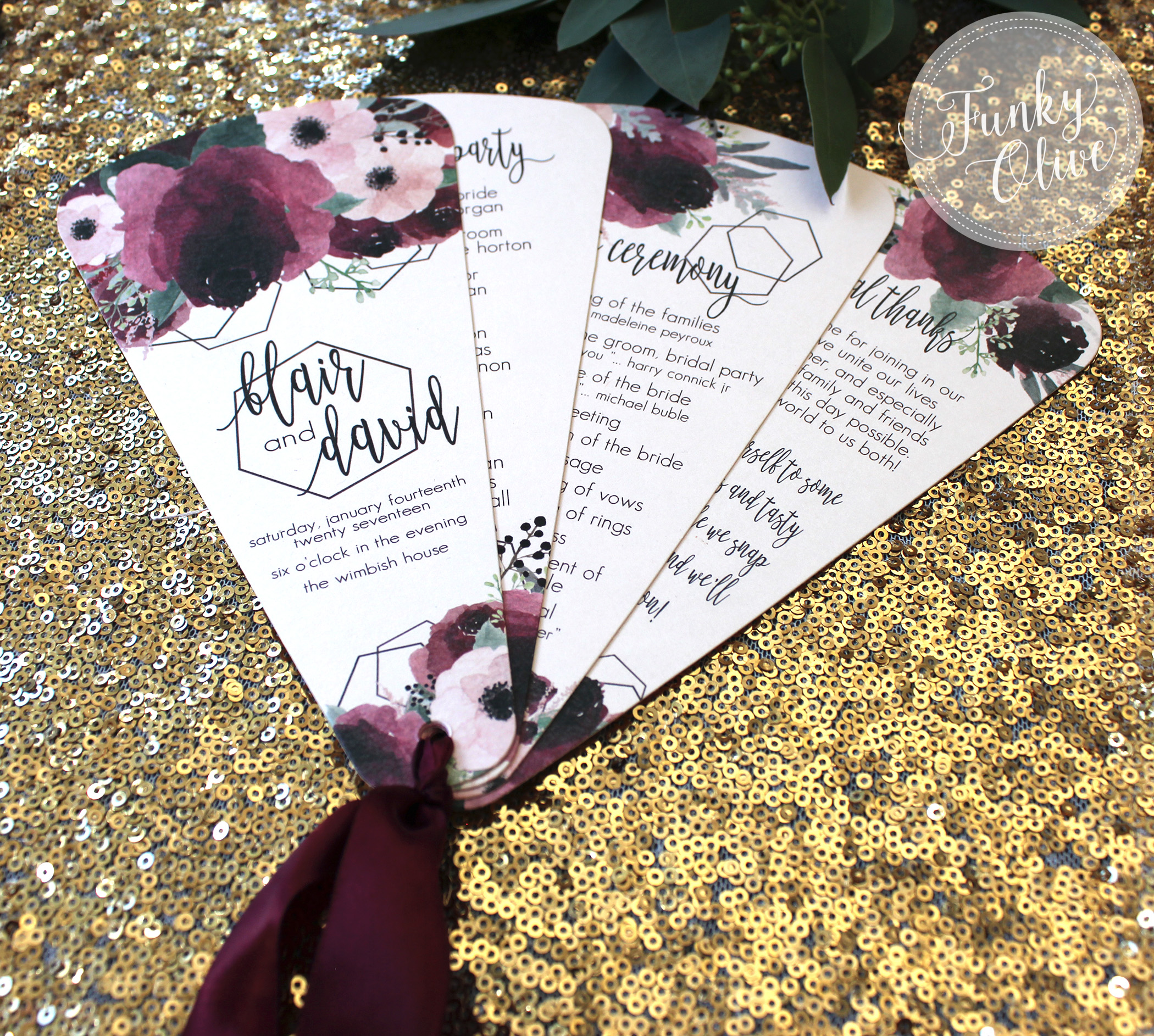 Burgundy & Blush Watercolor Flowers Fan Program