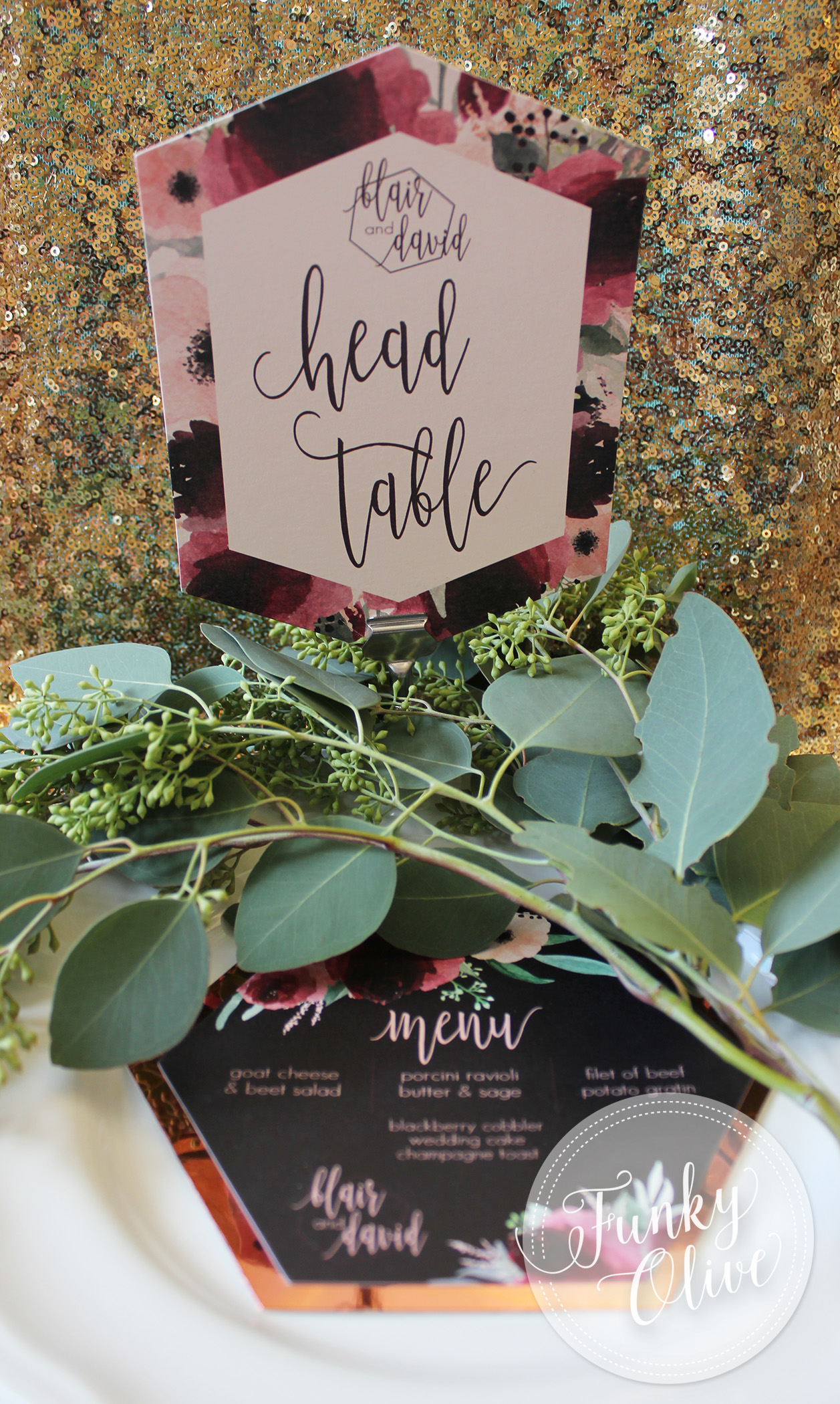 Floral Burgundy & Blush Table Numbers