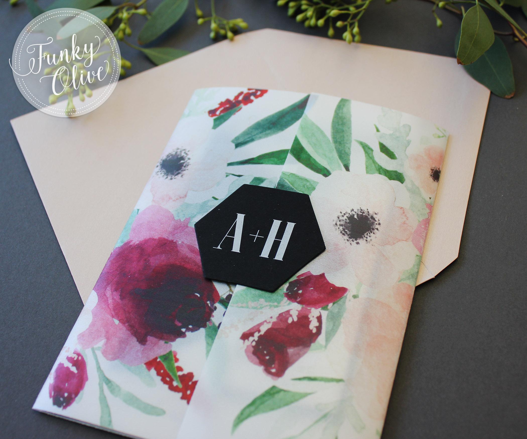 Marsala Watercolor Vellum Wrap Invitation