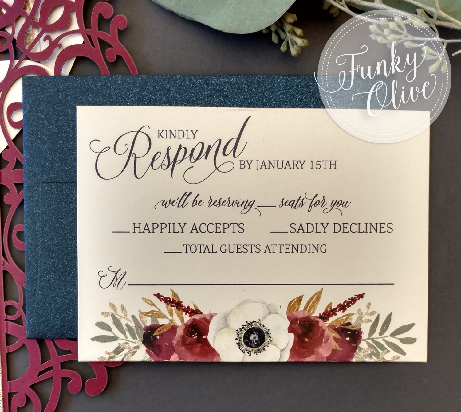 Burgundy, Navy & Gold Laser Cut Wedding Invitation Package — Wedding  Invitations + Stationery - Funky Olive Design