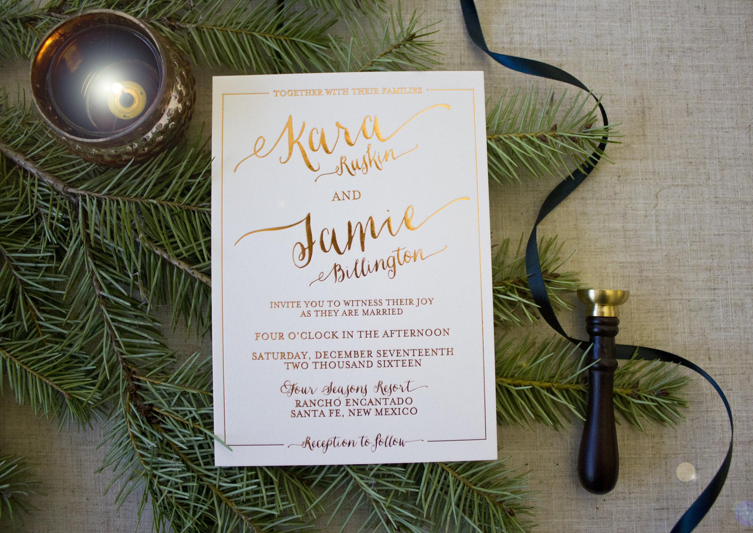 Jamie + Kara's Wedding Invitation Suite.Styling + Photo © Funky Olive Invitations + Stationery 2017