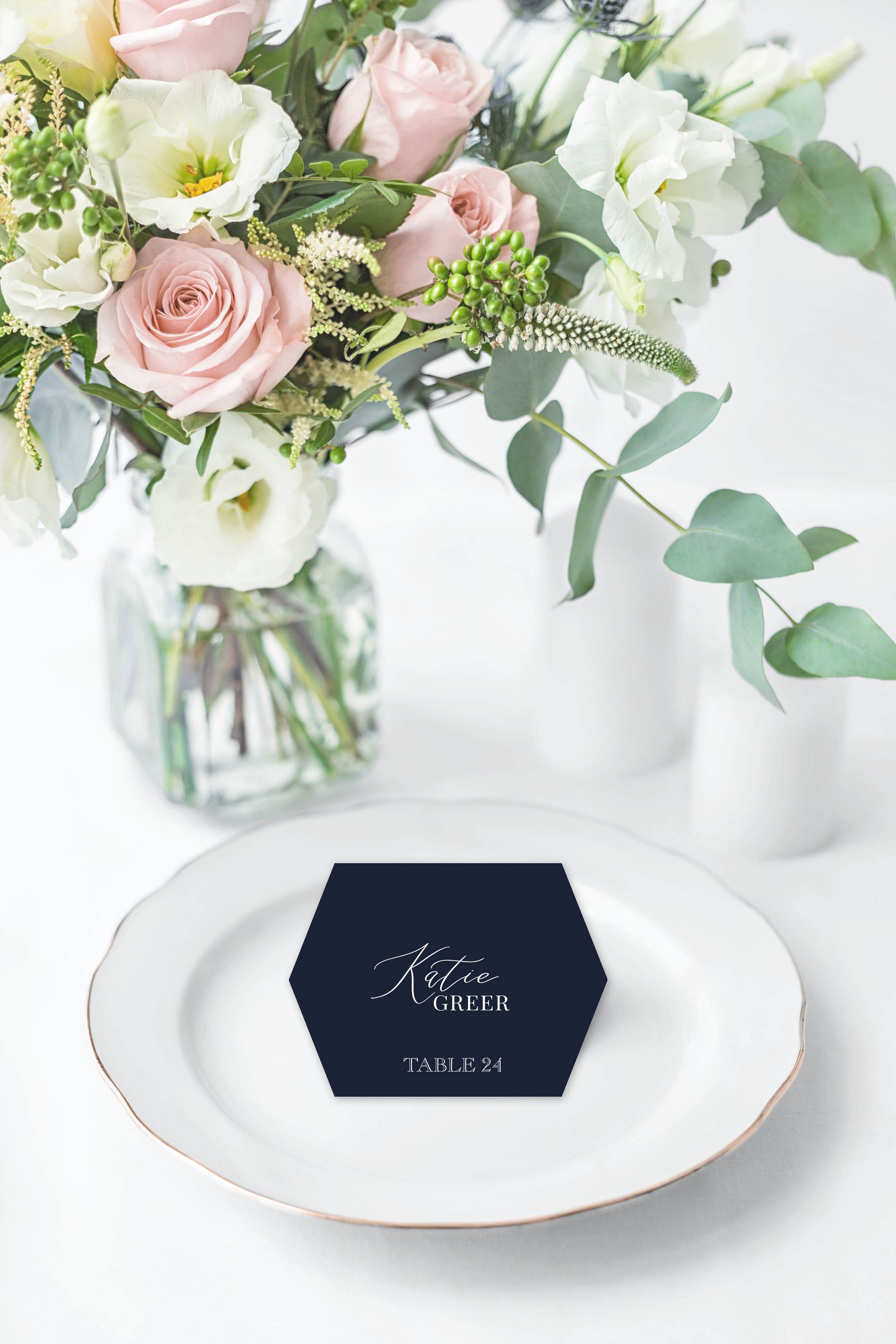 WHITE INK ON NAVY HEXAGON PLACE CARD.jpg