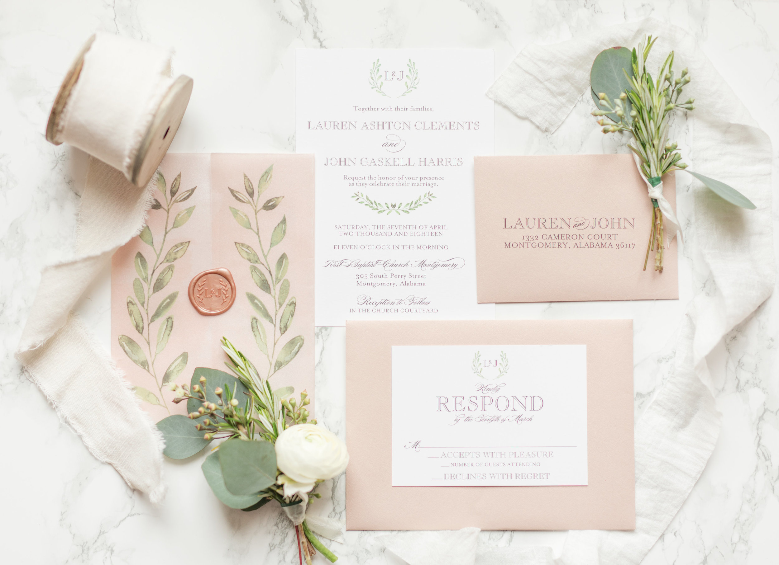 Our Greek Laurels vellum wrapped suite is perfection when sealed with a rose gold wax seal!