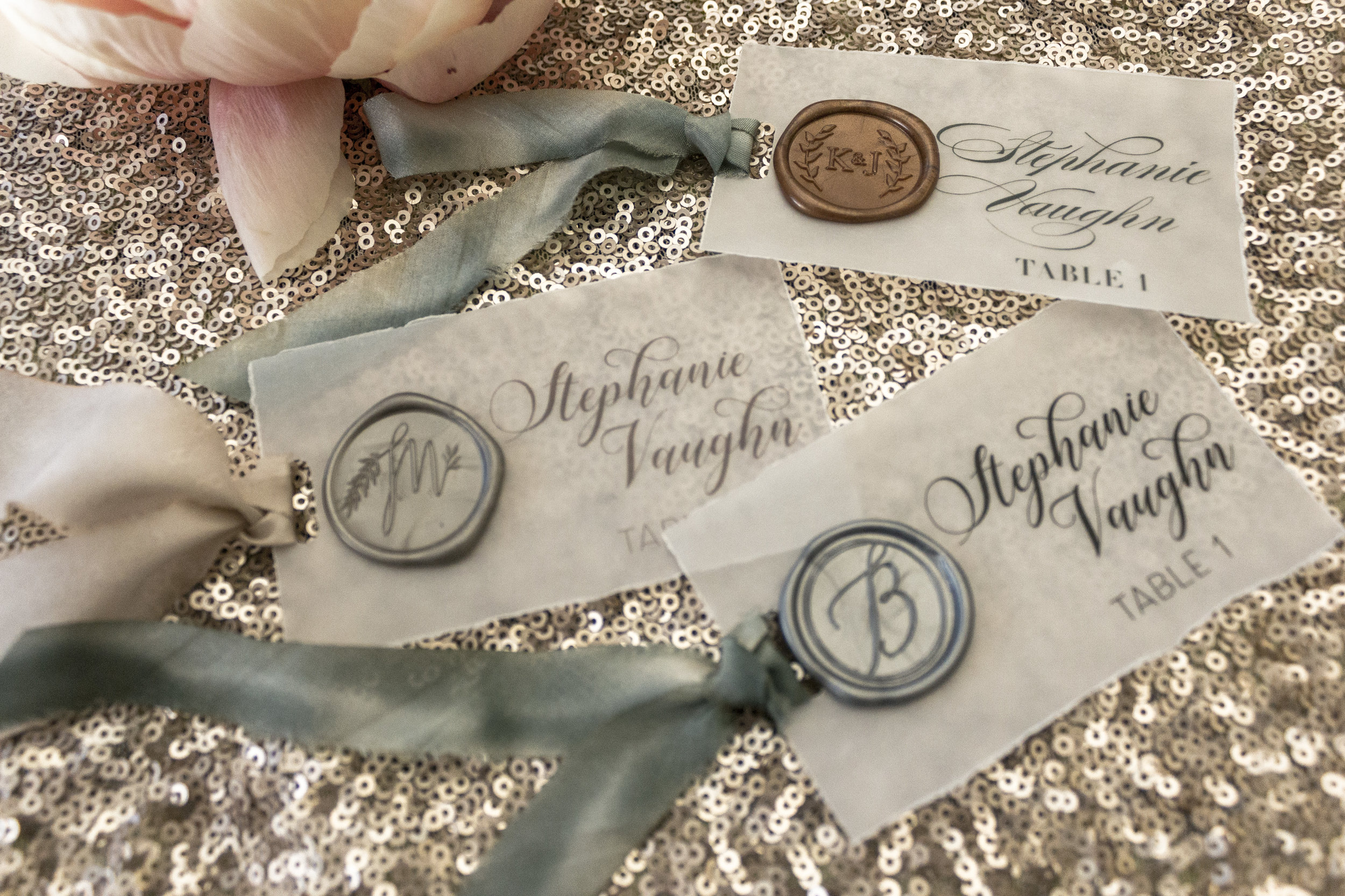 Vellum? Check! Wax Seal? Check! Hand Dyed Silk Ribbon? Check! These place cards are a trifecta of awesome! Pro tip? We can color code the ribbon to indicate your guests' meal selection!