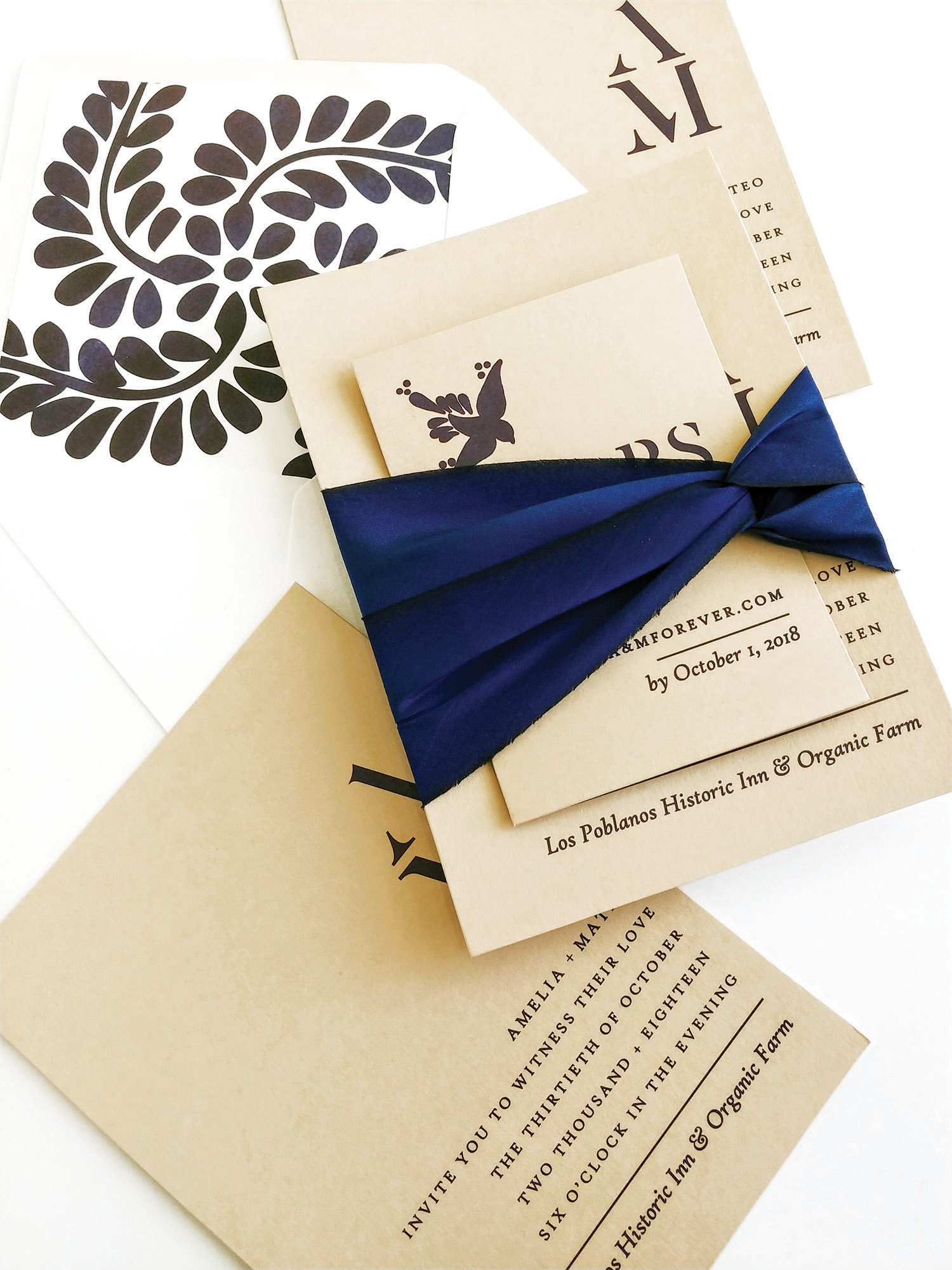 NAVY BLUE SILK BELLY BAND WEDDING INVITATION.jpg