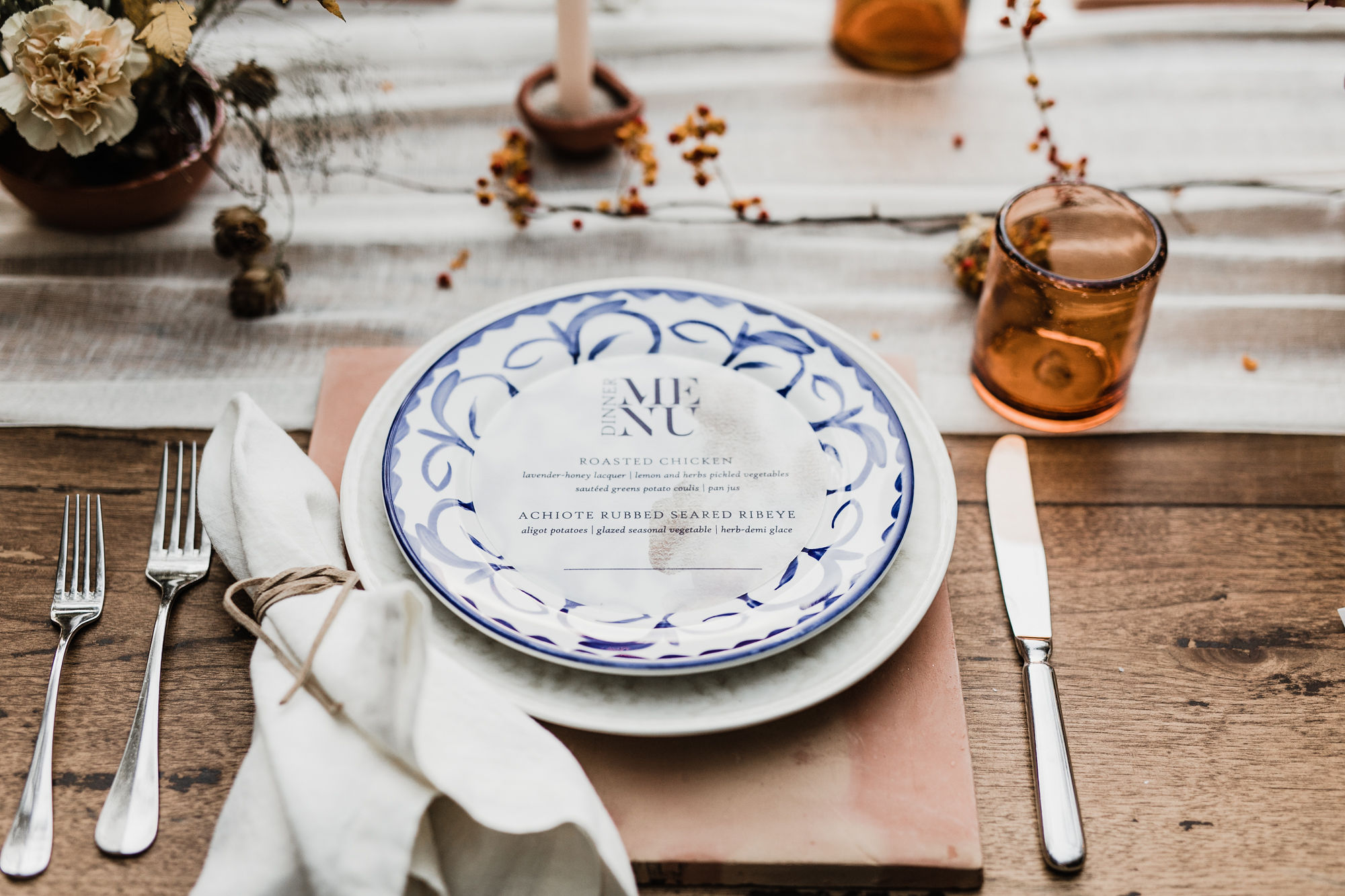 Navy on vellum helped these round reception menus set the scene at Los Poblanos. Photo by    Alicia Lucia Photography.