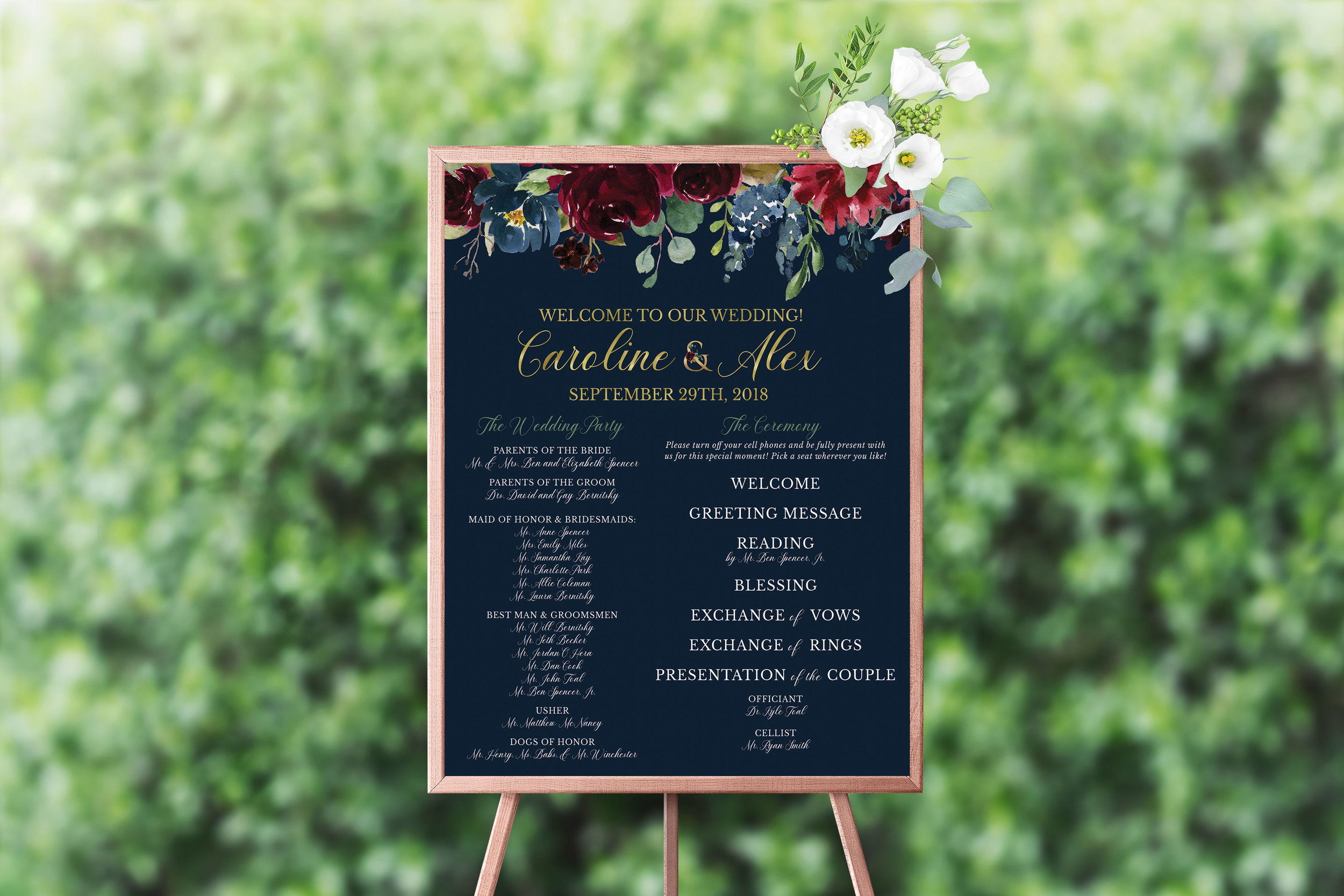 NAVY & BURGUNDY FLORAL LARGE PROGRAM SIGN.jpg
