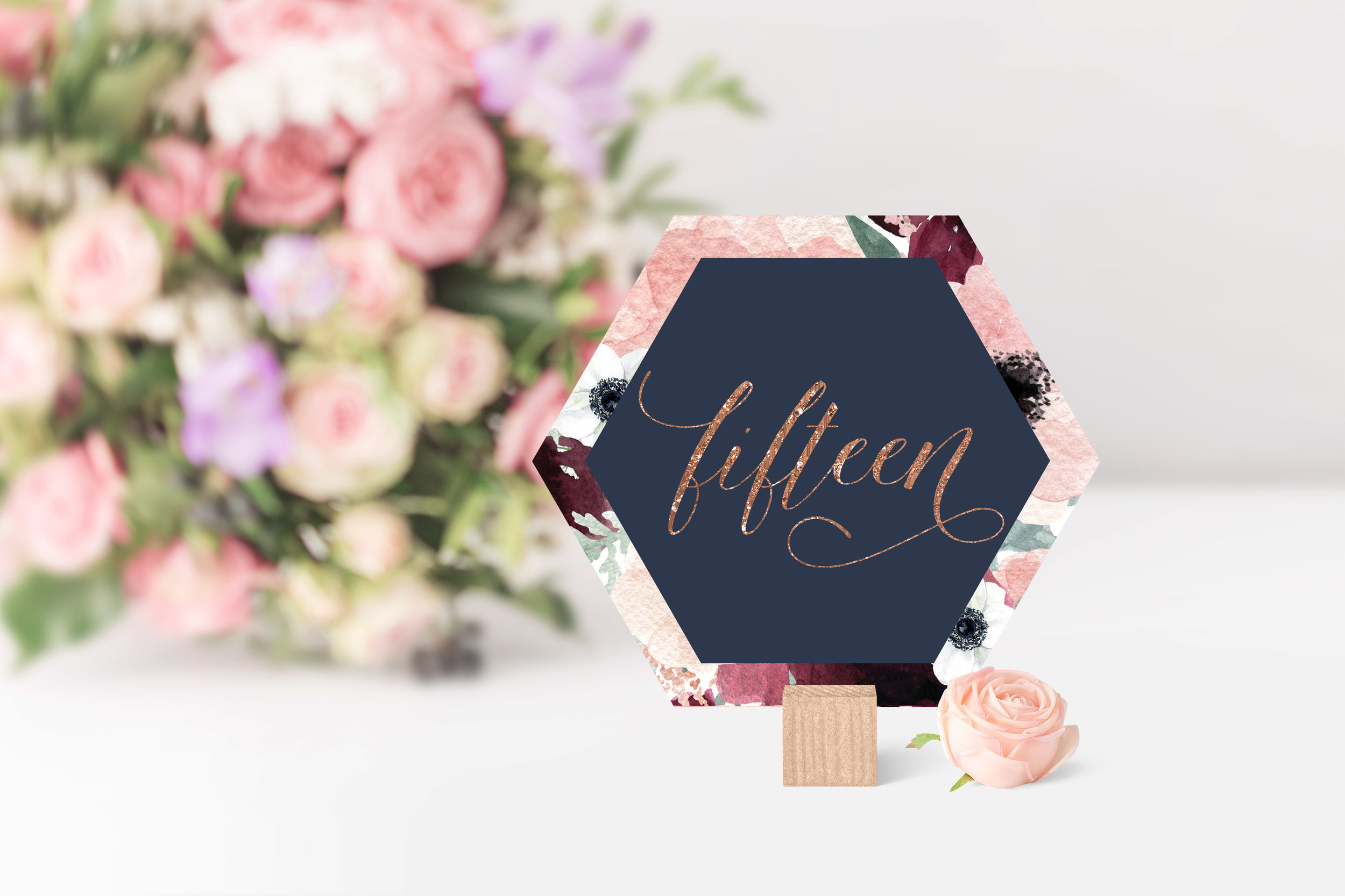 NAVY & BLUSH FAUX GLITTER HEXAGON TABLE NUMBERS.jpg