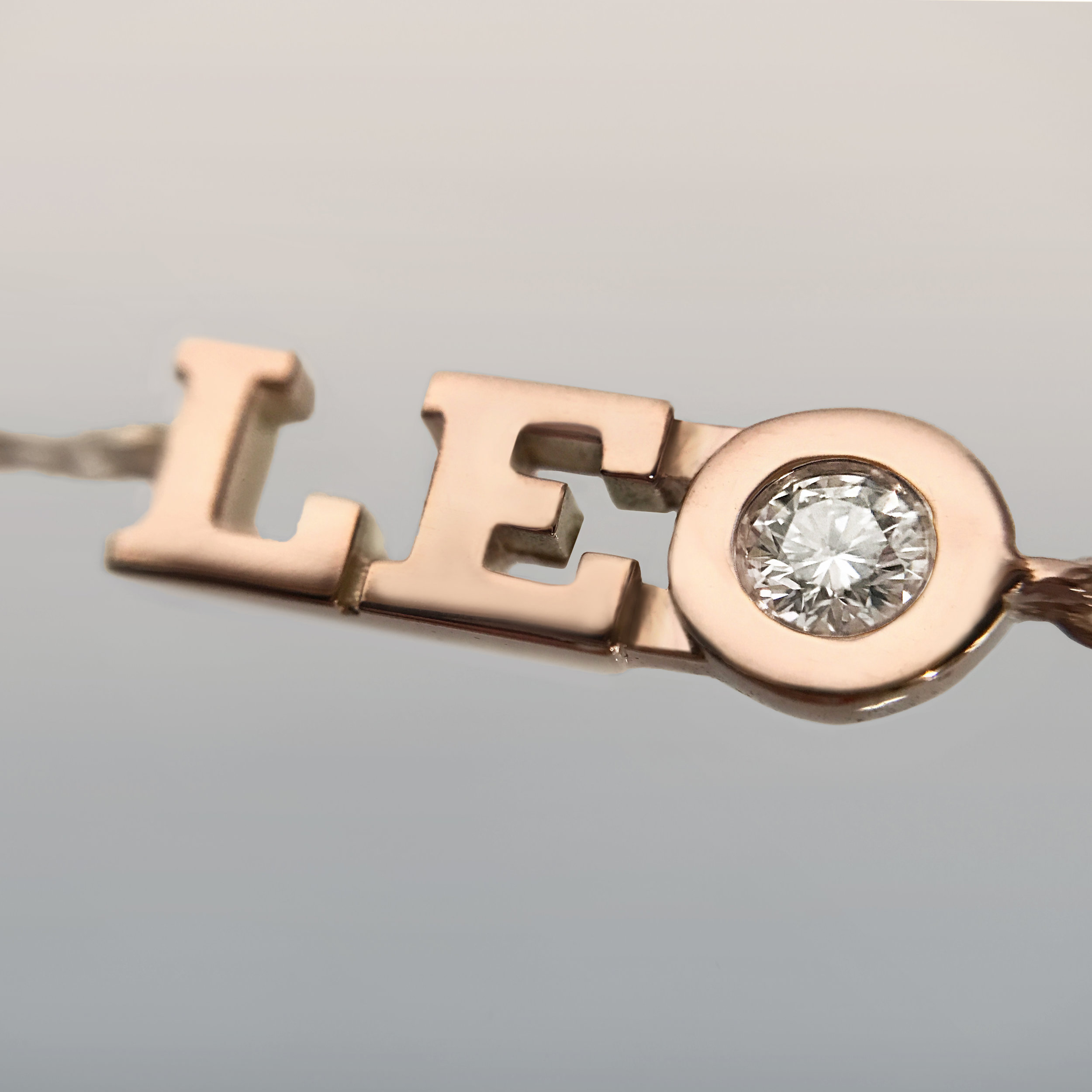 Leo appears three times on this bracelet with three beautiful diamonds.