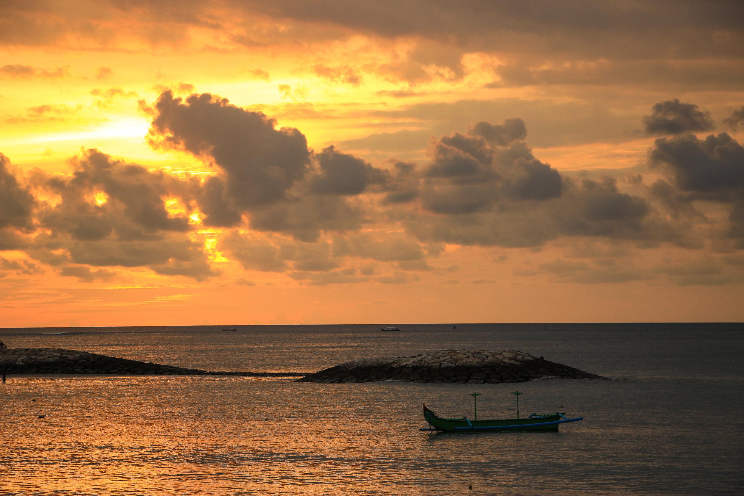 sunset, Sea, fishing boat, Bali, Indonesia, Asia | DoLessGetMoreDone.com |