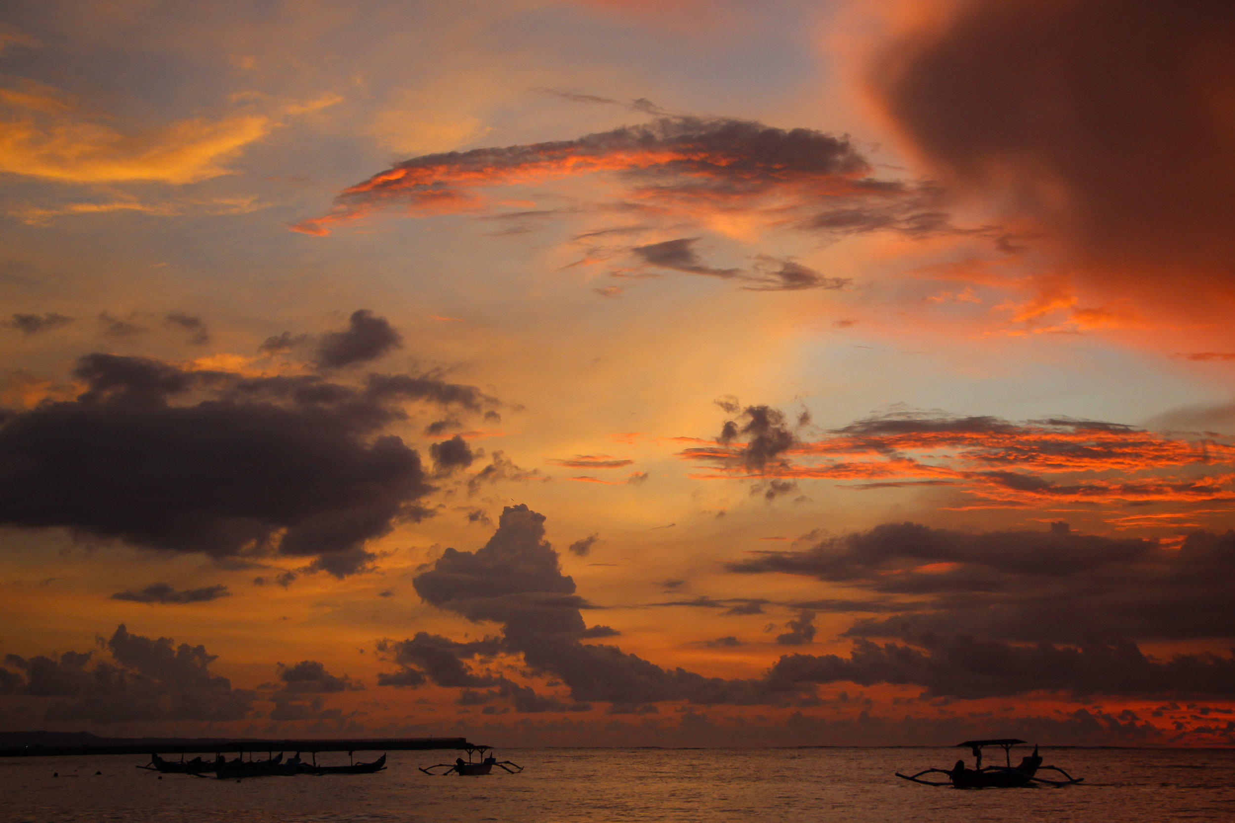 sunset, sky, clouds, sea, fishing boat, Bali, Indonesia, Asia | DoLessGetMoreDone.com |